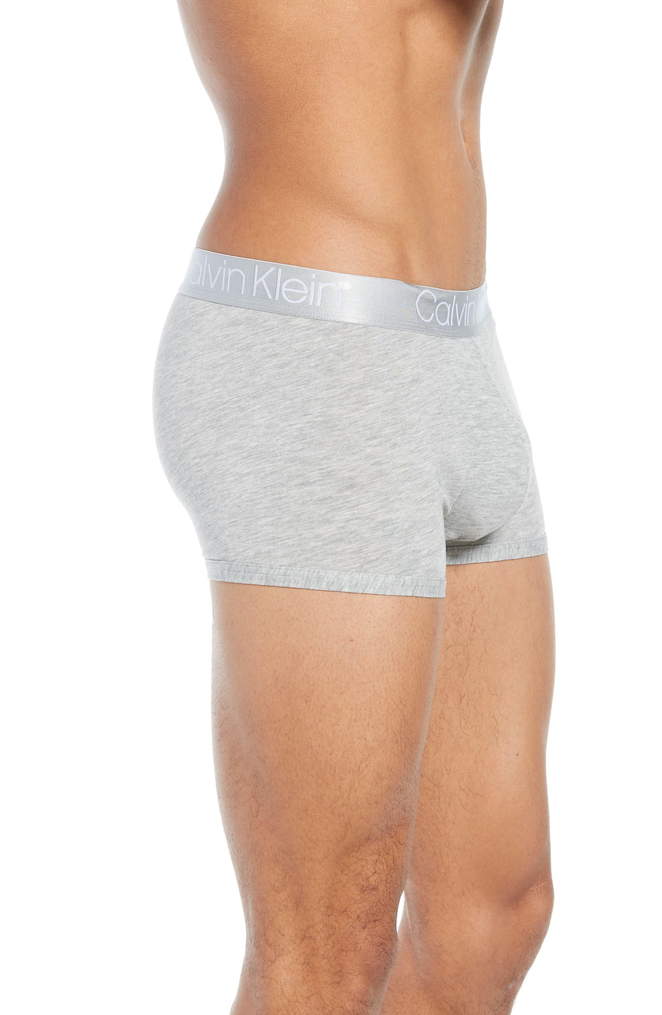 CALVIN KLEIN, Ultrasoft Stretch Modal Trunks, Alternate thumbnail 3, color, GREY HEATHER/ WHITE