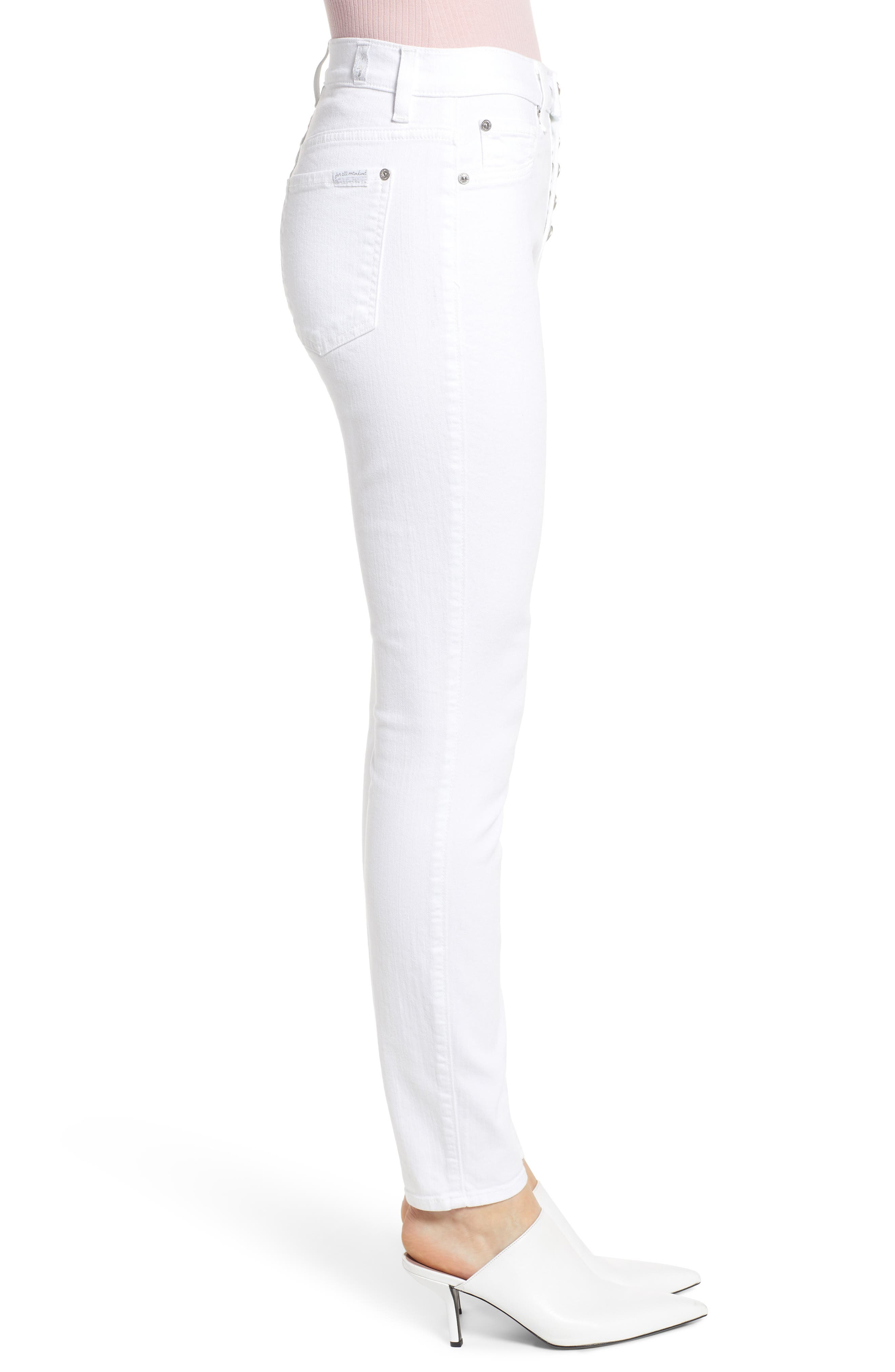 7 FOR ALL MANKIND<SUP>®</SUP>, Button Fly High Waist Ankle Skinny Jeans, Alternate thumbnail 4, color, WHITE RUNWAY DENIM