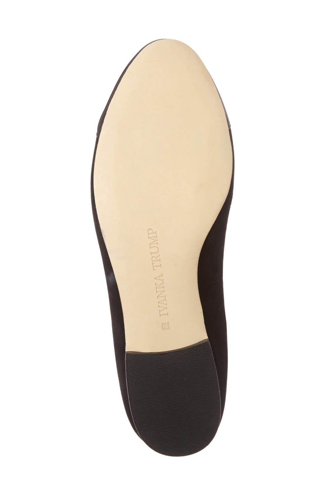 IVANKA TRUMP, 'Jocelyn' Cap Toe Flat, Alternate thumbnail 3, color, 001