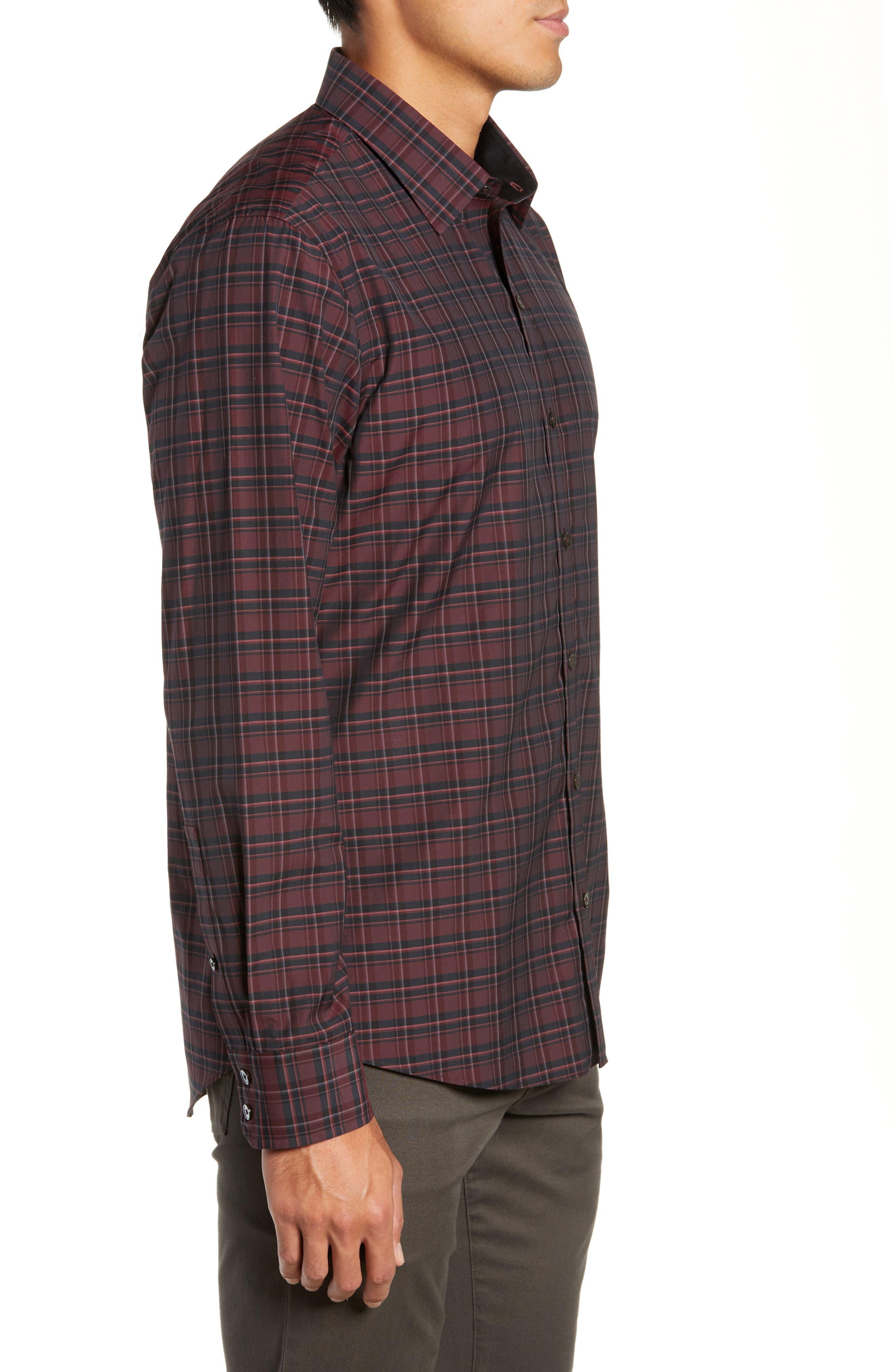 ZACHARY PRELL, Sunny Regular Fit Sport Shirt, Alternate thumbnail 4, color, RUBY