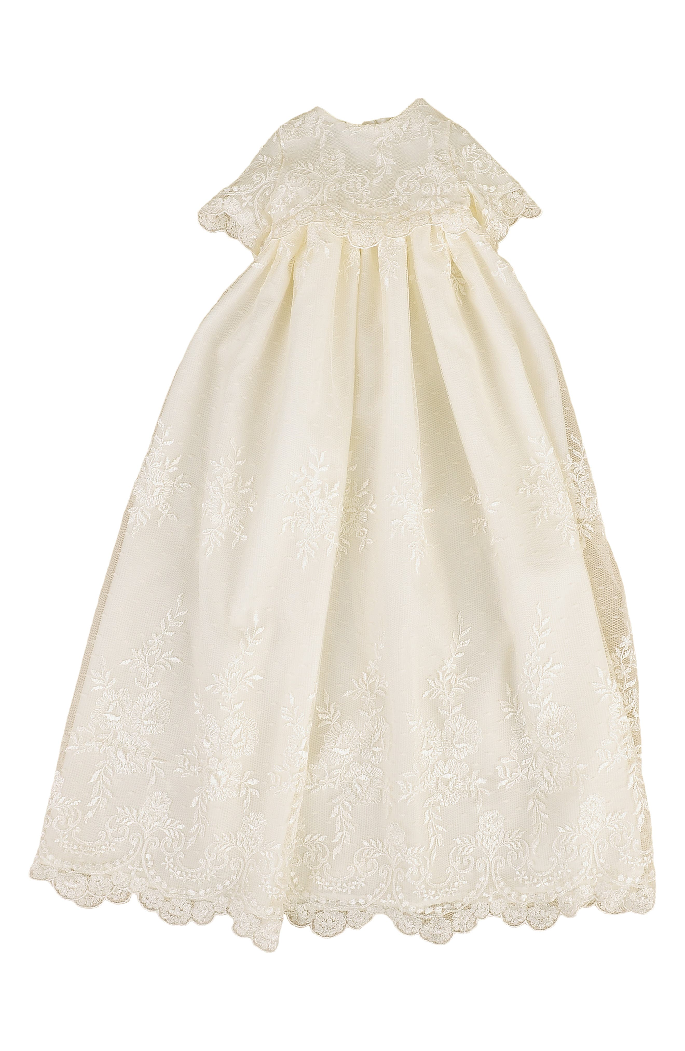 LITTLE THINGS MEAN A LOT, Christening Gown, Shawl, Slip & Bonnet Set, Main thumbnail 1, color, IVORY