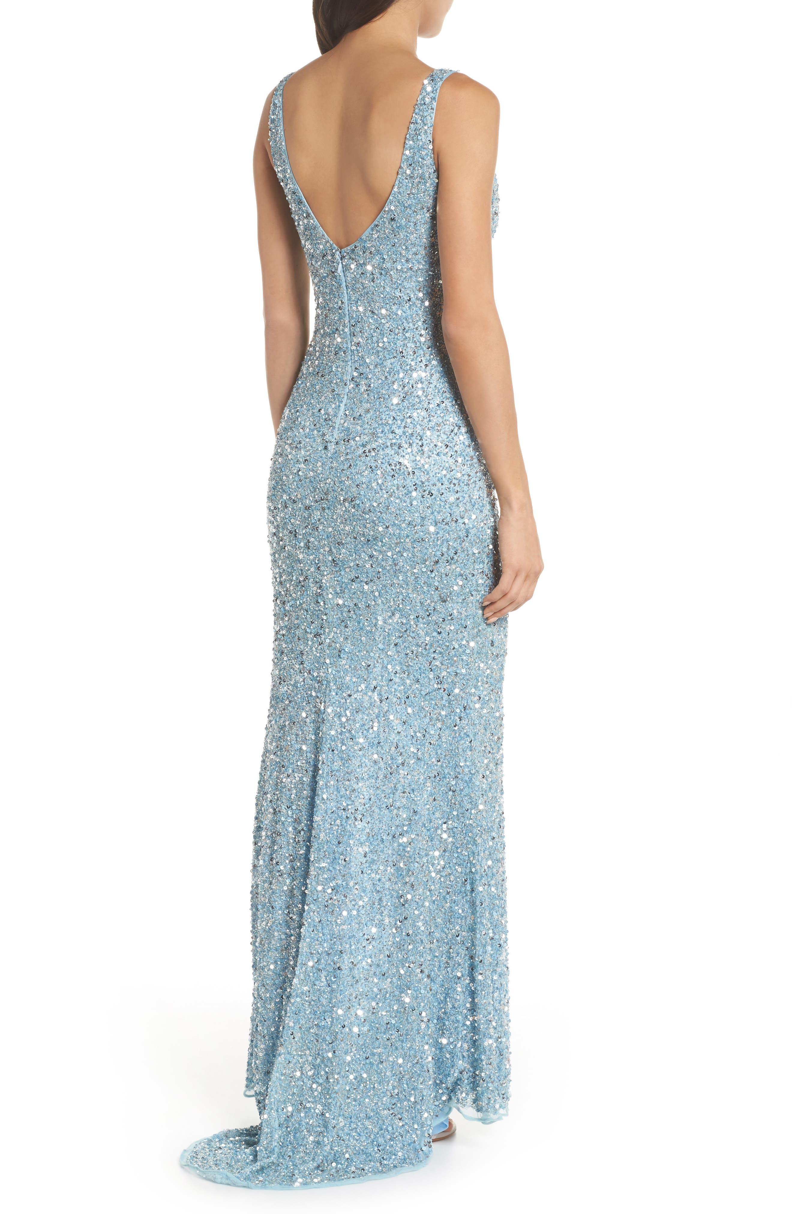 MAC DUGGAL, V-Neck Sequin Gown, Alternate thumbnail 2, color, POWDER BLUE