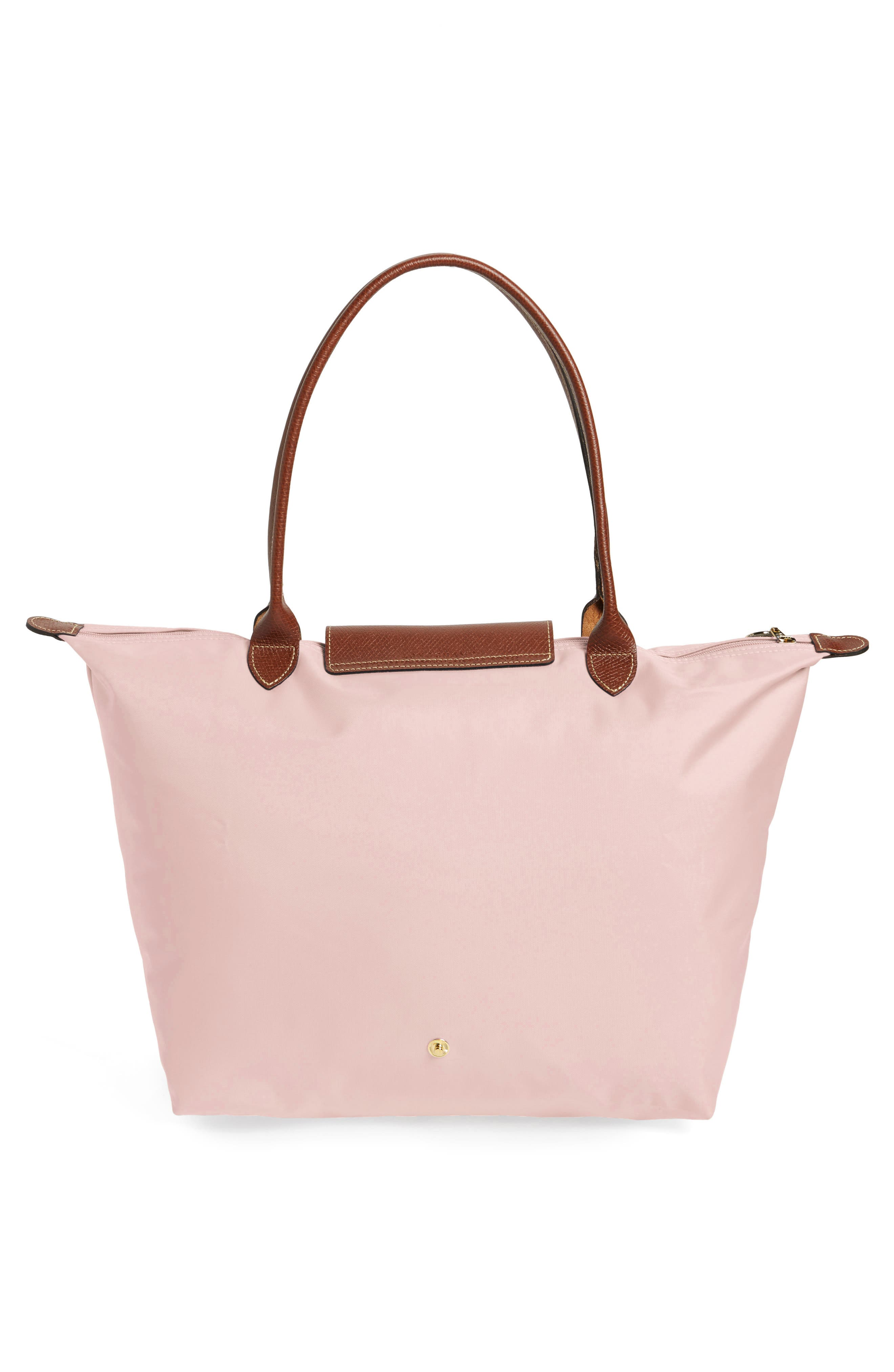 LONGCHAMP, Large Le Pliage Tote, Alternate thumbnail 4, color, PINK ICE