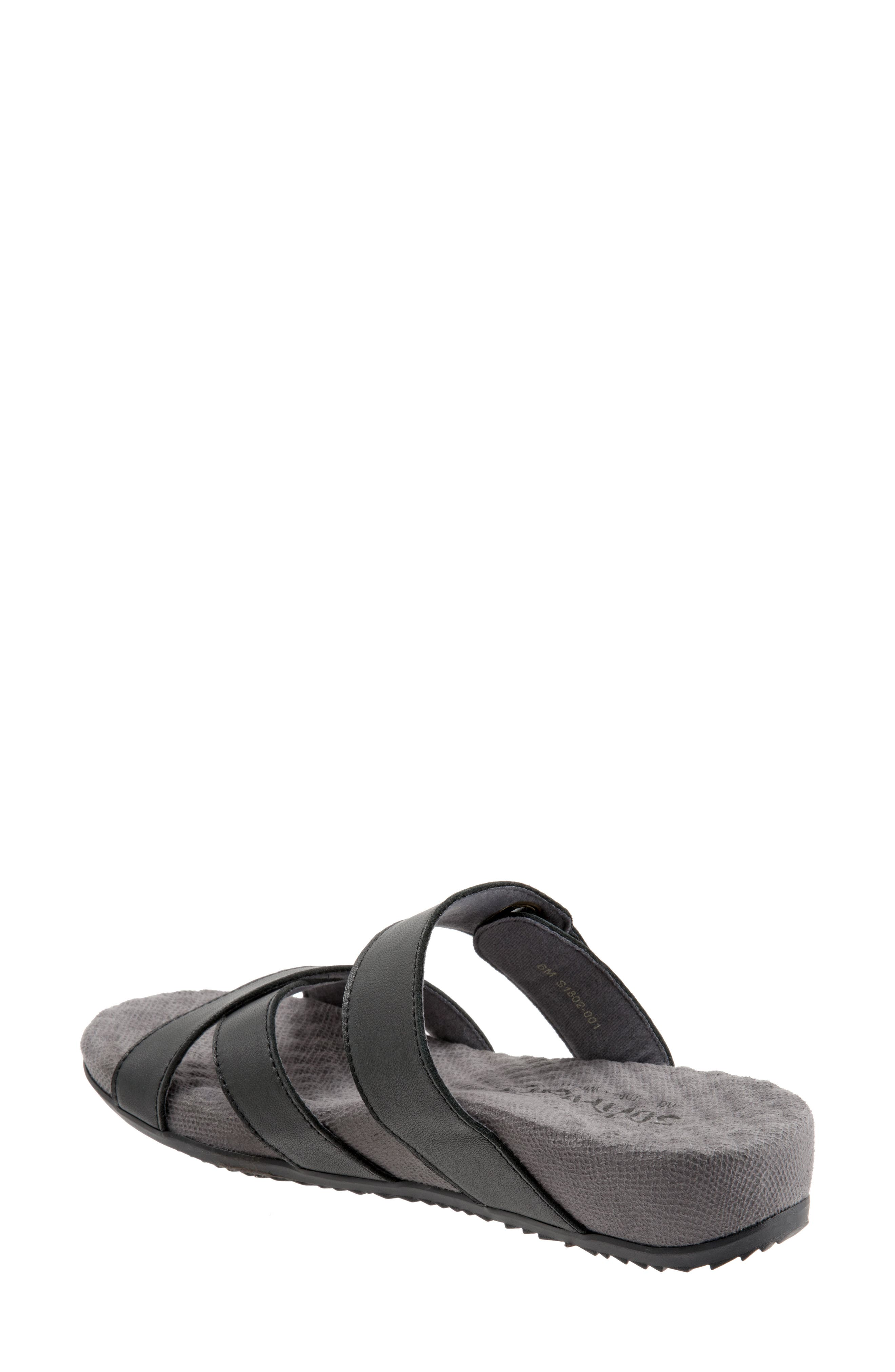 SOFTWALK<SUP>®</SUP>, Brimley Sandal, Alternate thumbnail 2, color, BLACK LEATHER