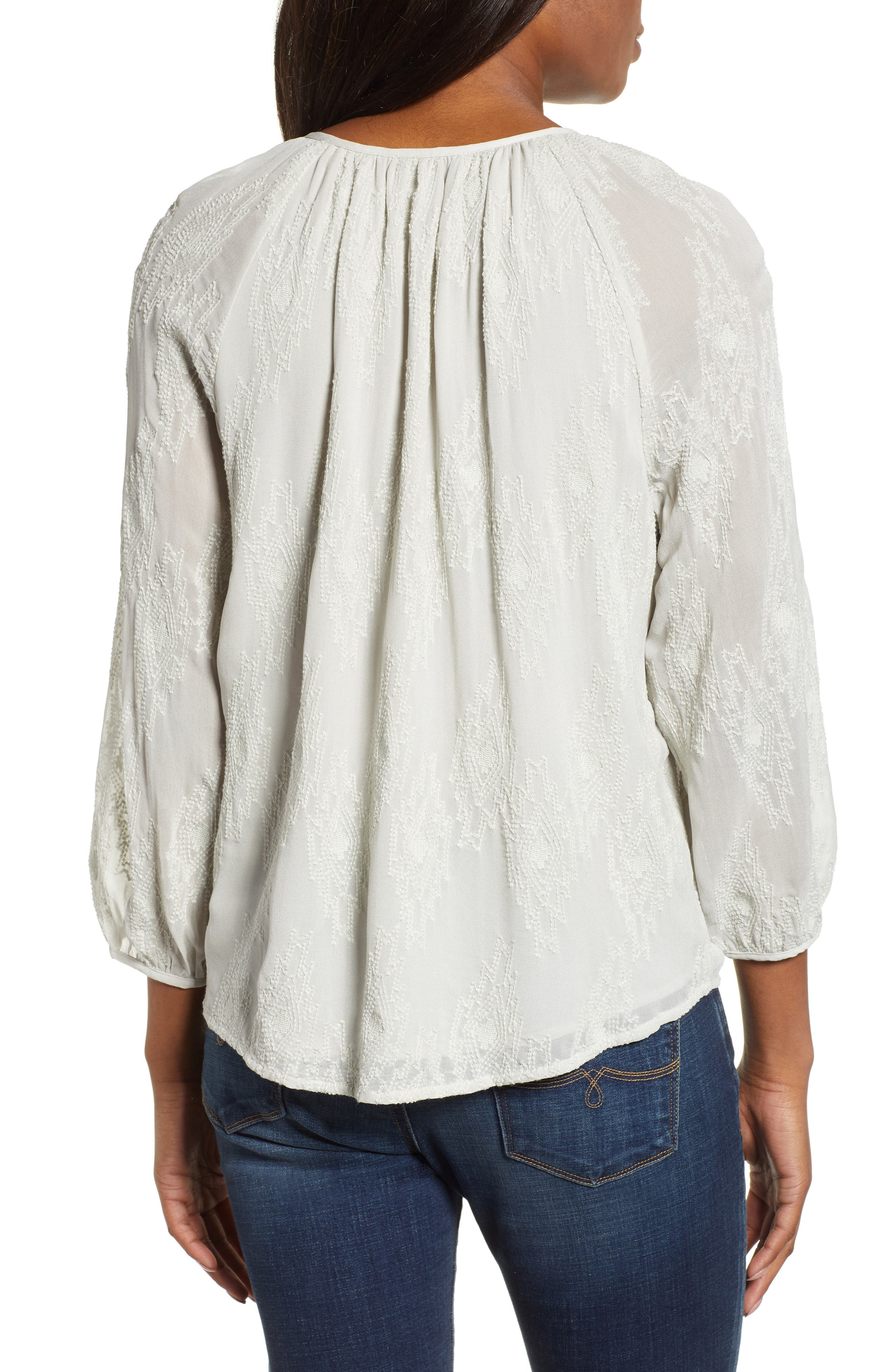 LUCKY BRAND, Geo Embroidered Top, Alternate thumbnail 2, color, PALE BLUE