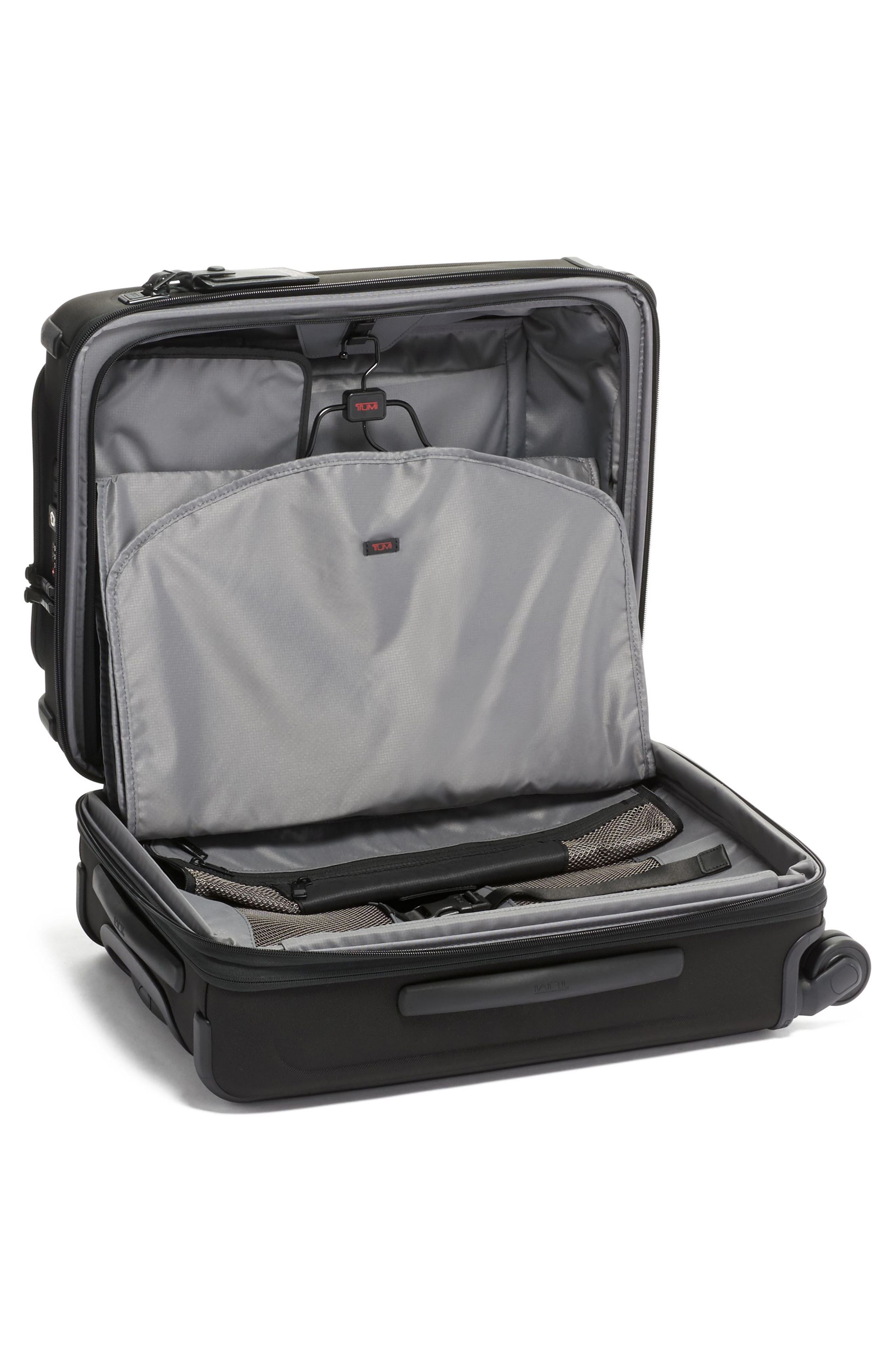 TUMI, Alpha 3 Collection 22-Inch Wheeled Dual Access Continental Carry-On, Alternate thumbnail 6, color, BLACK