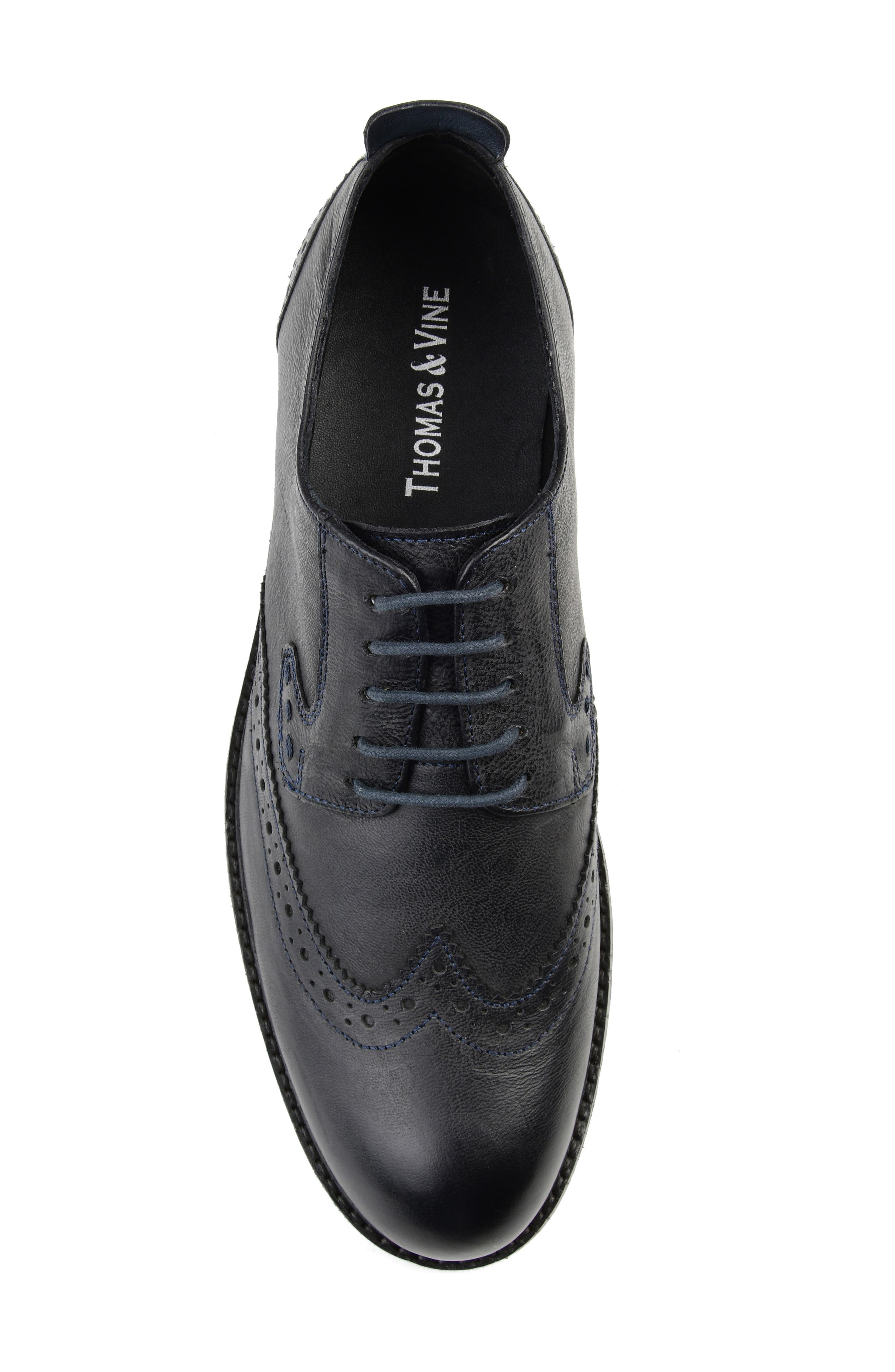 THOMAS AND VINE, Uriah Wingtip Derby, Alternate thumbnail 5, color, BLACK LEATHER