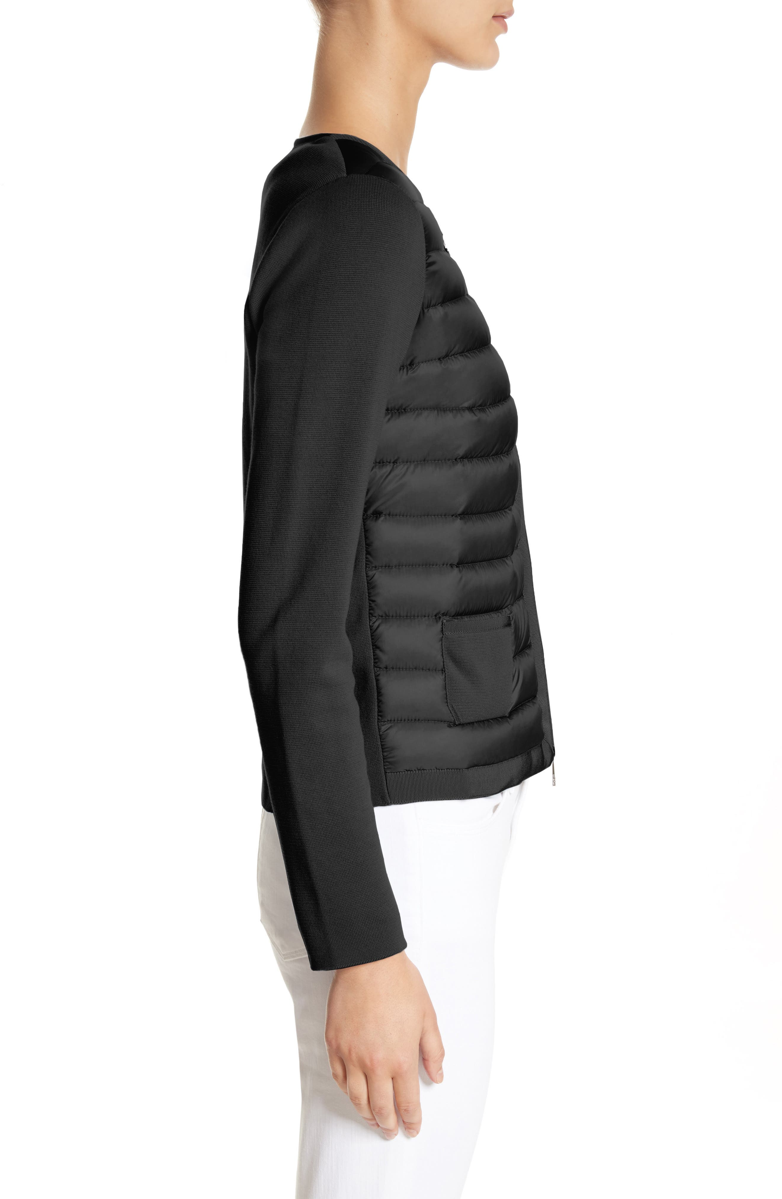 MONCLER, Maglia Quilted Down Front Tricot Cardigan, Alternate thumbnail 3, color, 001