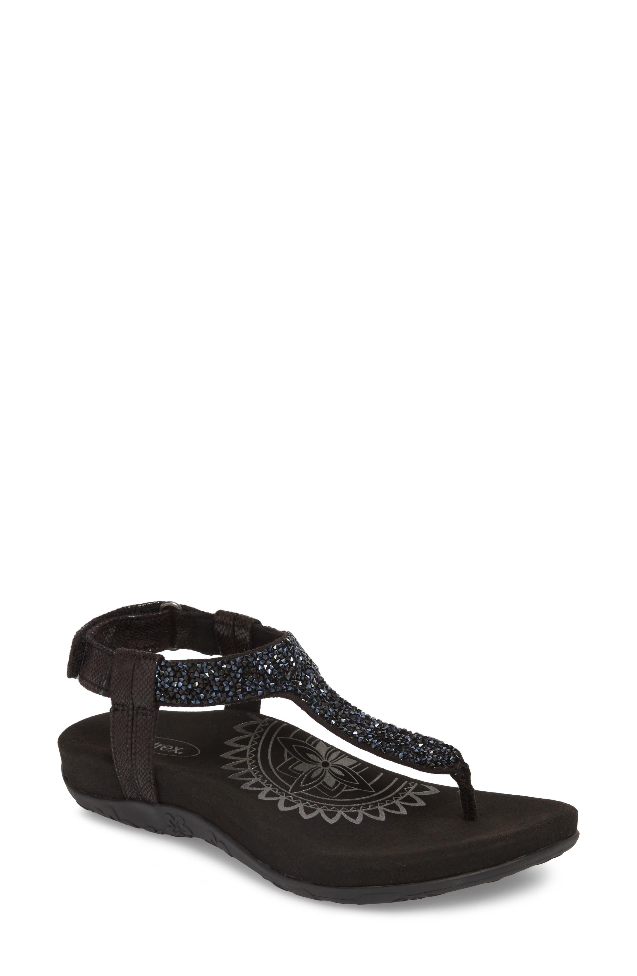 AETREX Jade Embellished T-Strap Sandal, Main, color, BLACK LEATHER