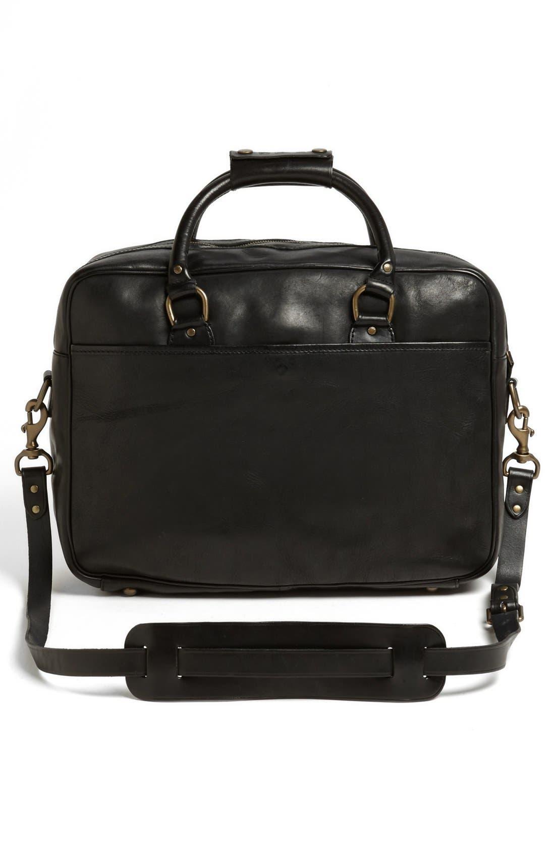 POLO RALPH LAUREN, Leather Commuter Bag, Alternate thumbnail 4, color, 001