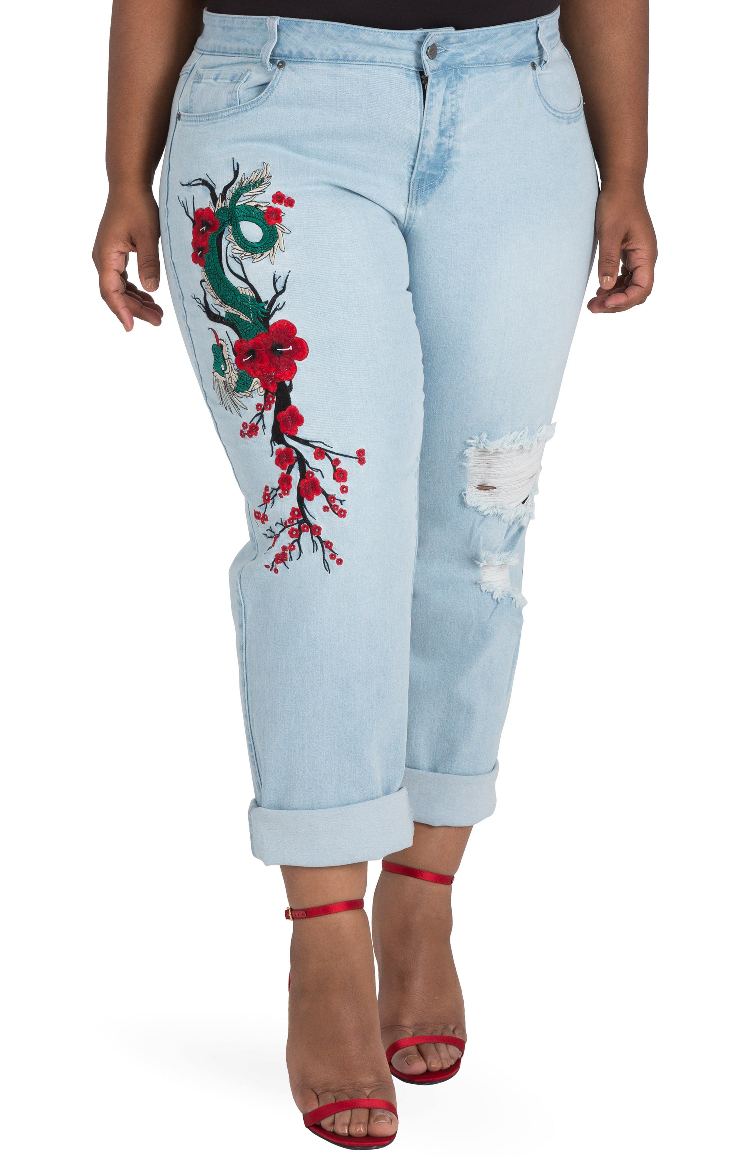 POETIC JUSTICE, Halle Embroidered Jeans, Main thumbnail 1, color, MEDIUM BLUE