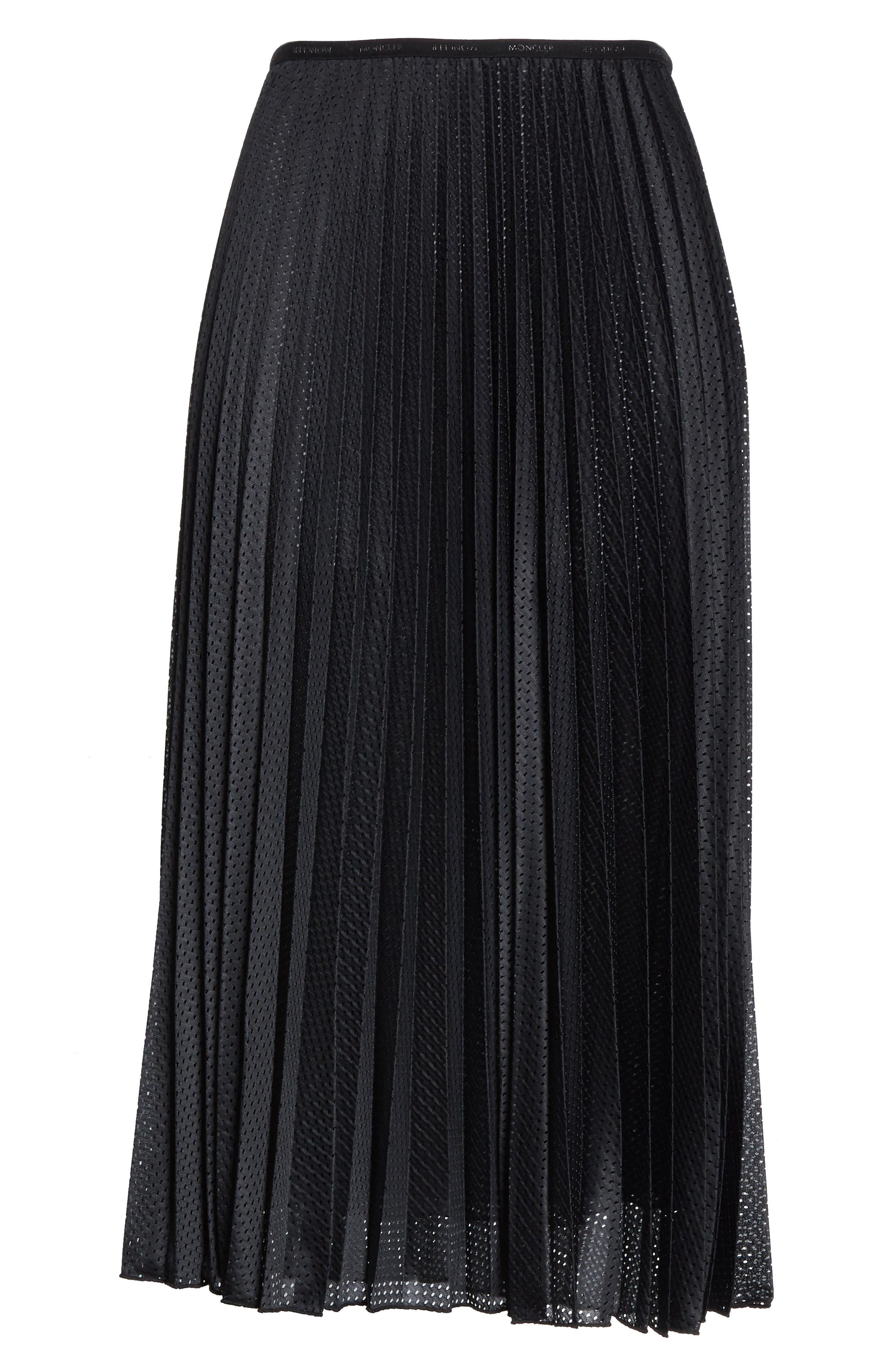 MONCLER, Pleated Mesh Skirt, Alternate thumbnail 6, color, 001