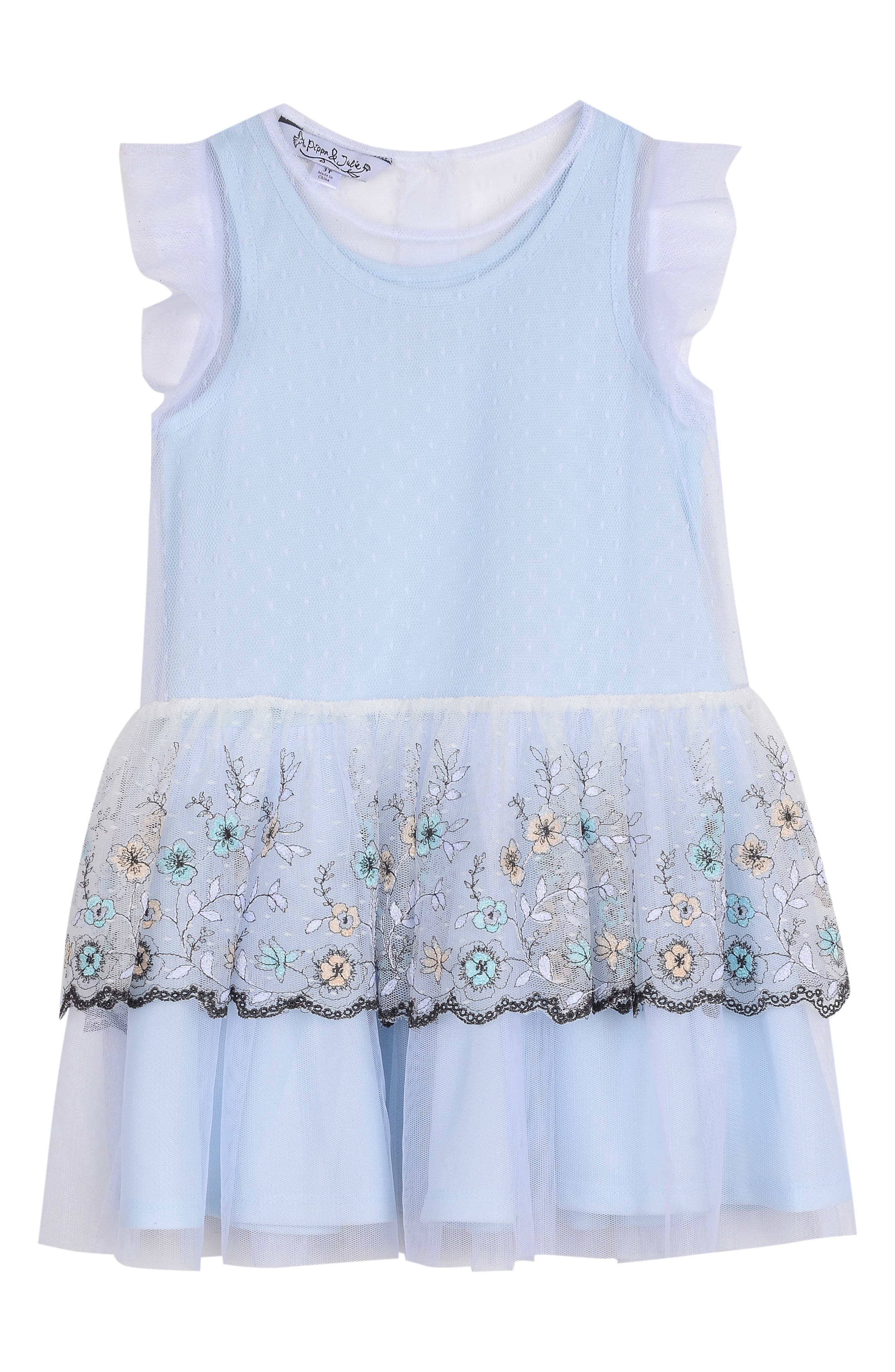 PIPPA & JULIE Tulle Tier Overlay Dress, Main, color, LIGHT BLUE