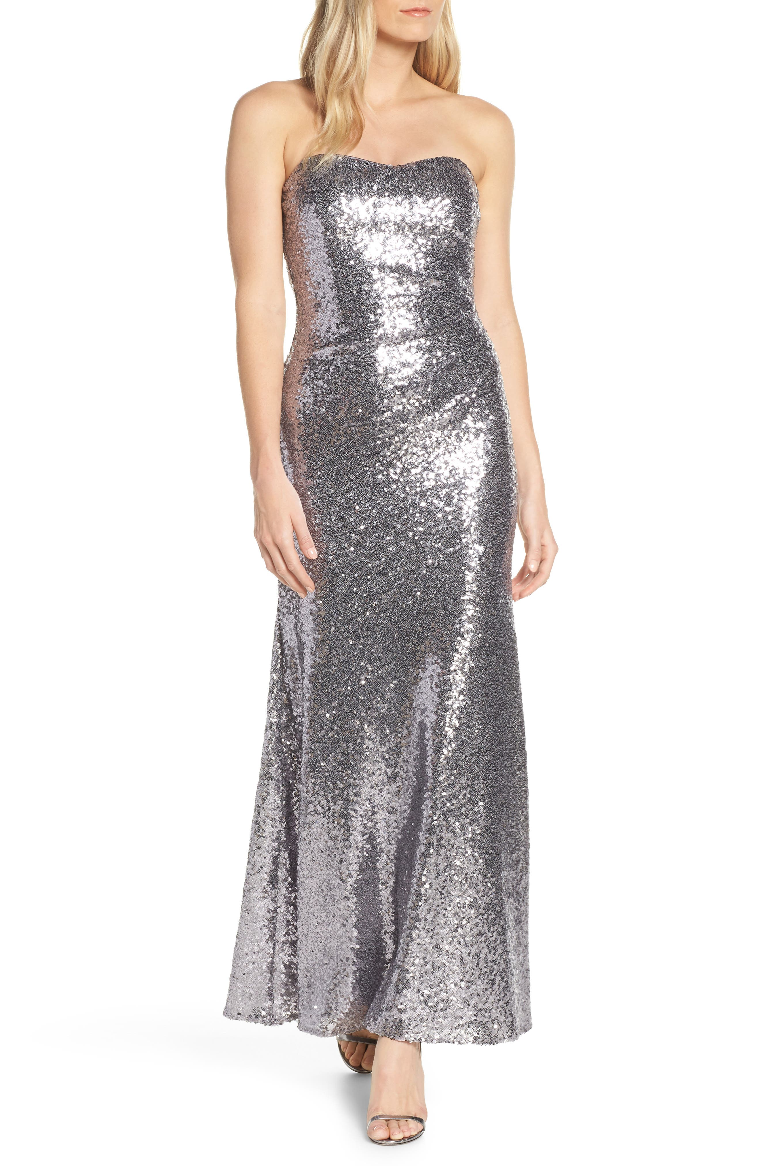 Vince Camuto Sequin Strapless Gown, Grey