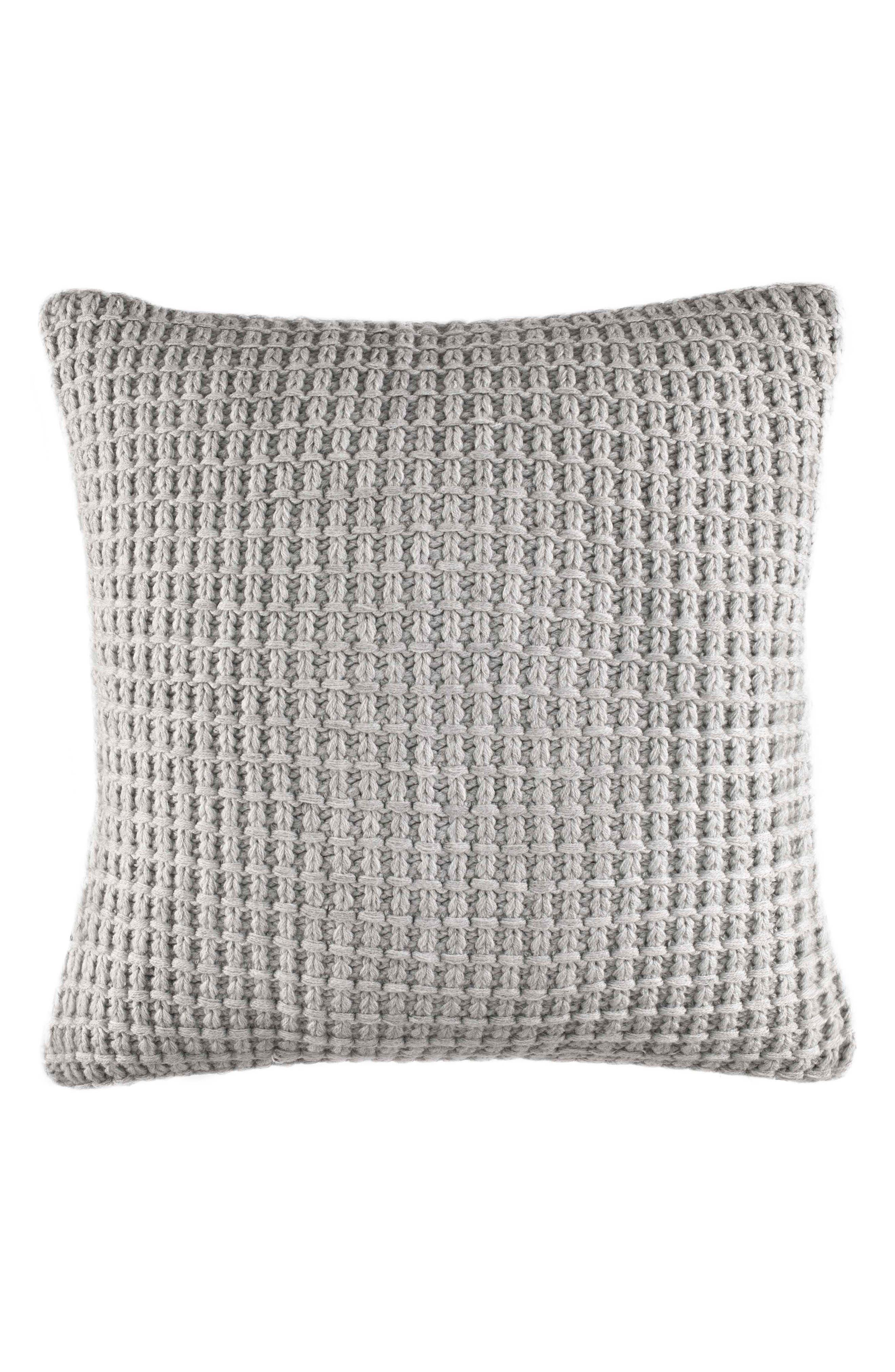 NAUTICA, Grey Sweater Knit Pillow, Main thumbnail 1, color, 020