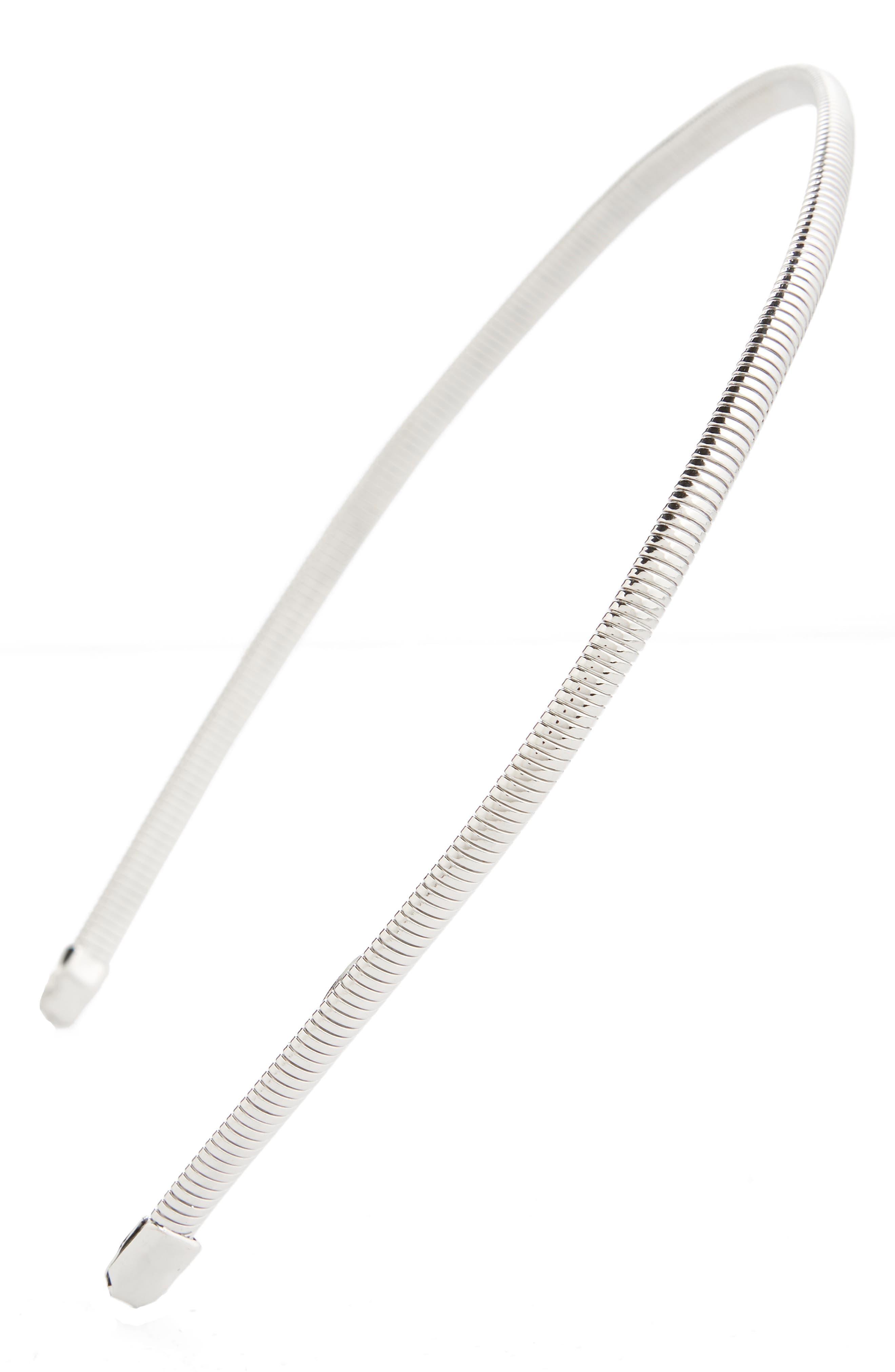 TASHA Metal Headband, Main, color, SILVER