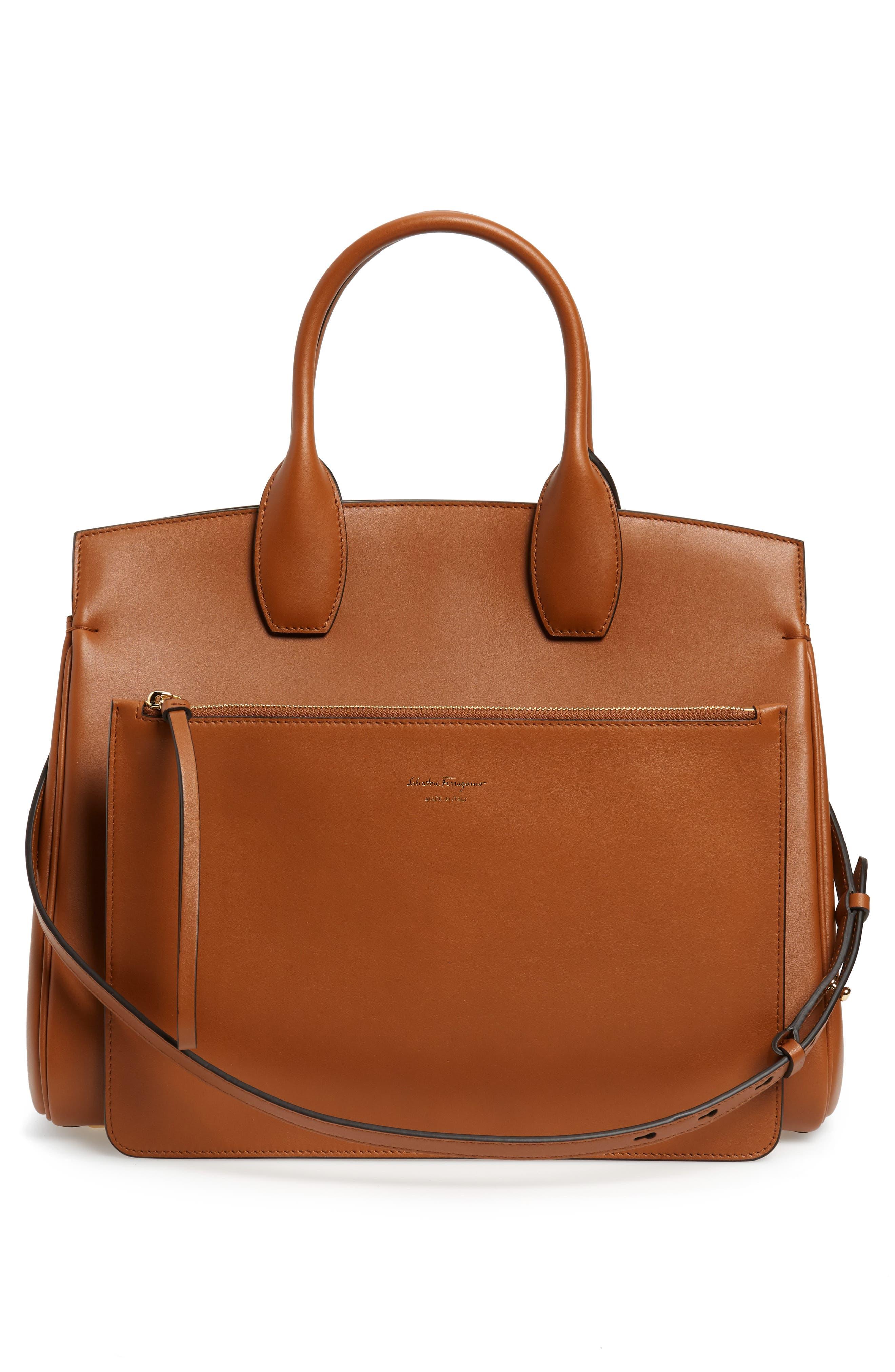 SALVATORE FERRAGAMO, Medium The Studio Calfskin Leather Top Handle Bag, Alternate thumbnail 3, color, SELLA
