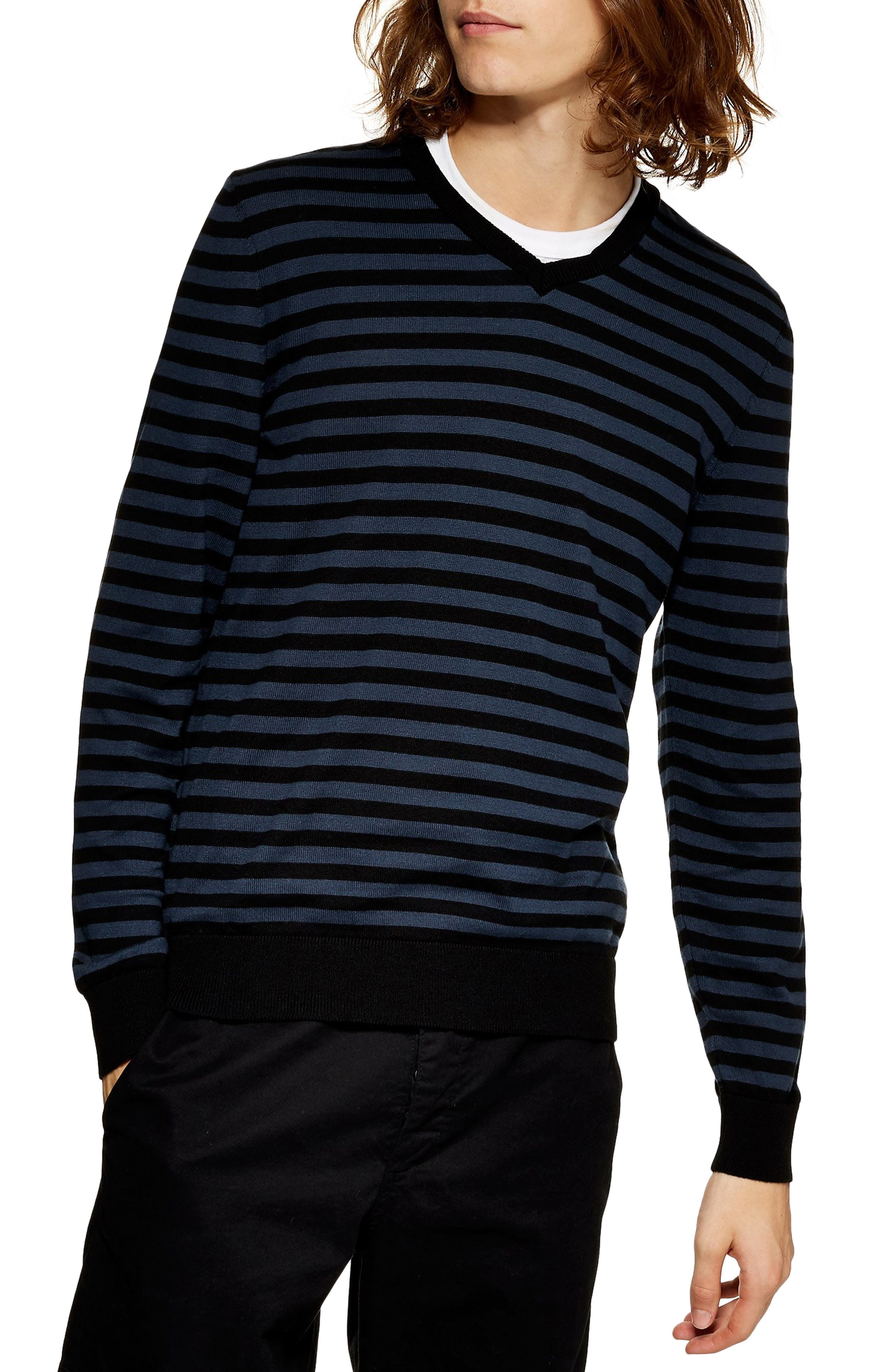 TOPMAN, Stripe V-Neck Sweater, Main thumbnail 1, color, BLUE MULTI