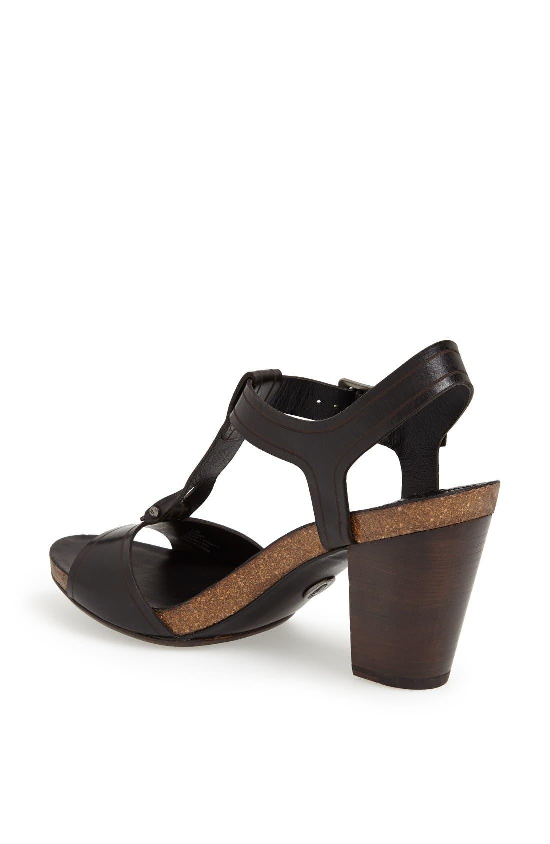 FRYE, 'Silvie' Y-Strap Leather Sandal, Alternate thumbnail 4, color, 001