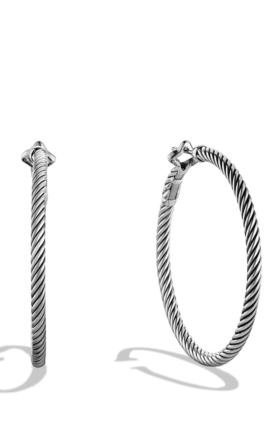 DAVID YURMAN, 'Cable Classics' Large Hoop Earrings, Main thumbnail 1, color, SILVER
