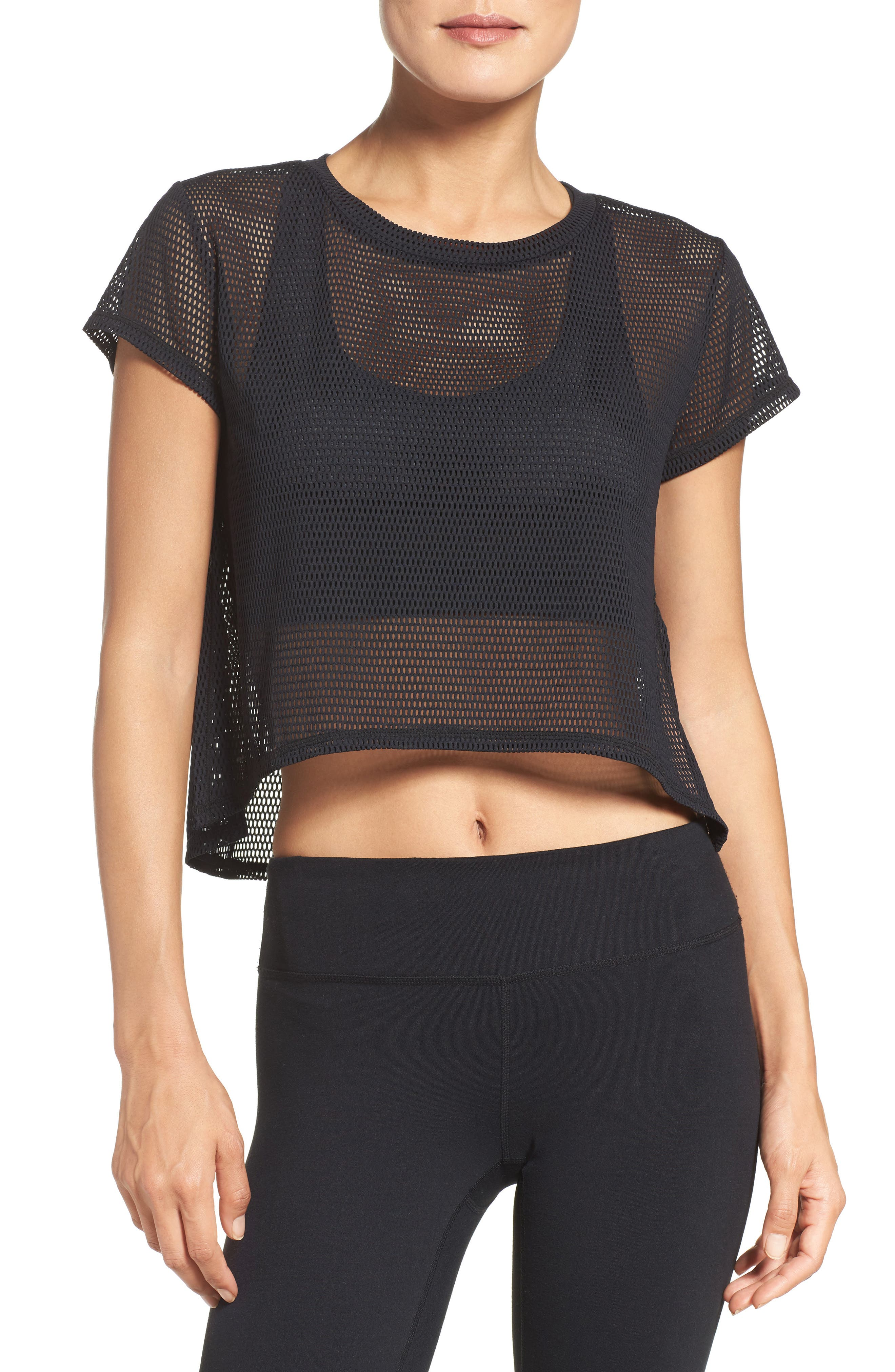 ZELLA, Meshin' Around Crop Tee, Main thumbnail 1, color, 001