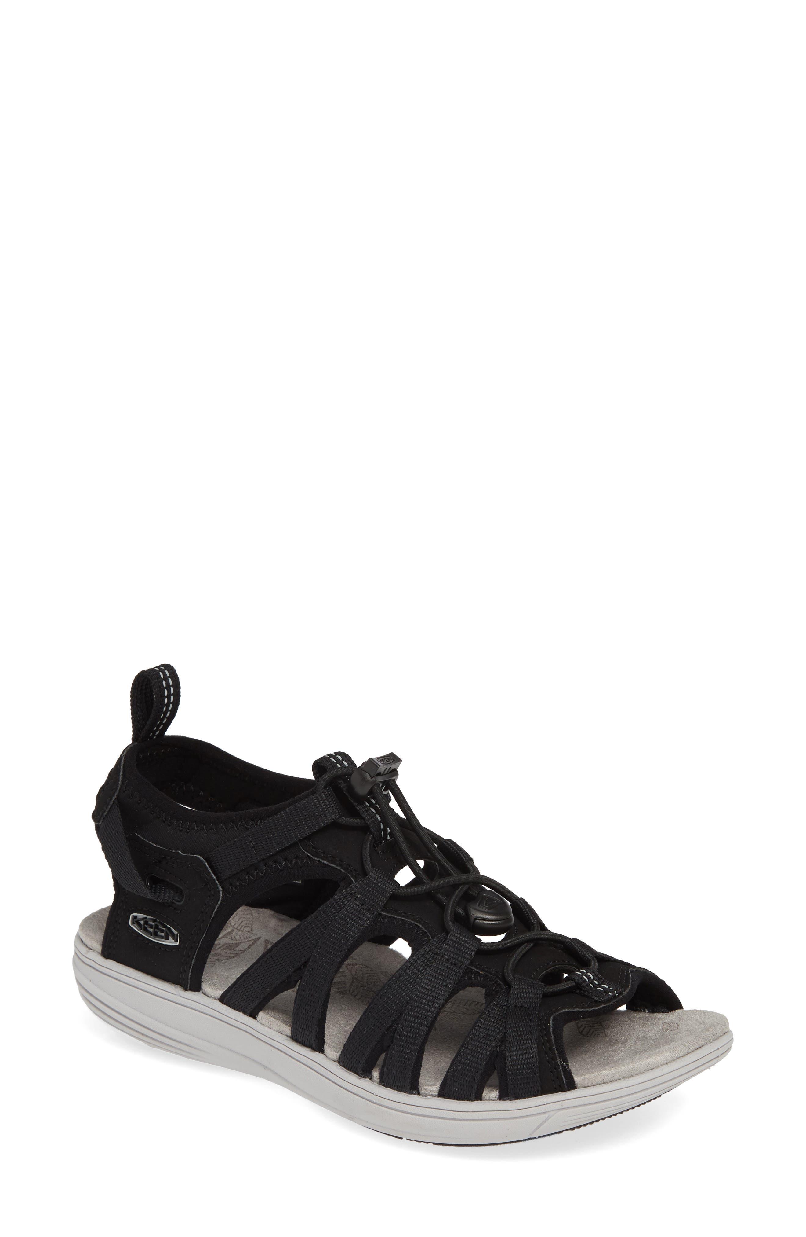 KEEN, Damaya Lattice Sandal, Main thumbnail 1, color, BLACK/ VAPOR FABRIC