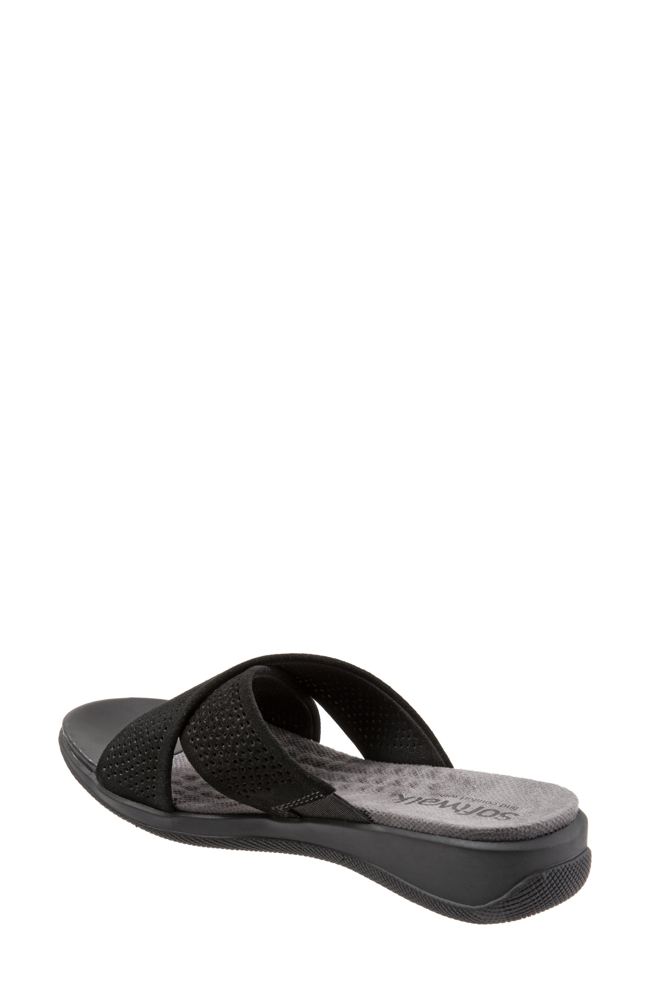 SOFTWALK<SUP>®</SUP>, 'Tillman' Leather Cross Strap Slide Sandal, Alternate thumbnail 2, color, 002
