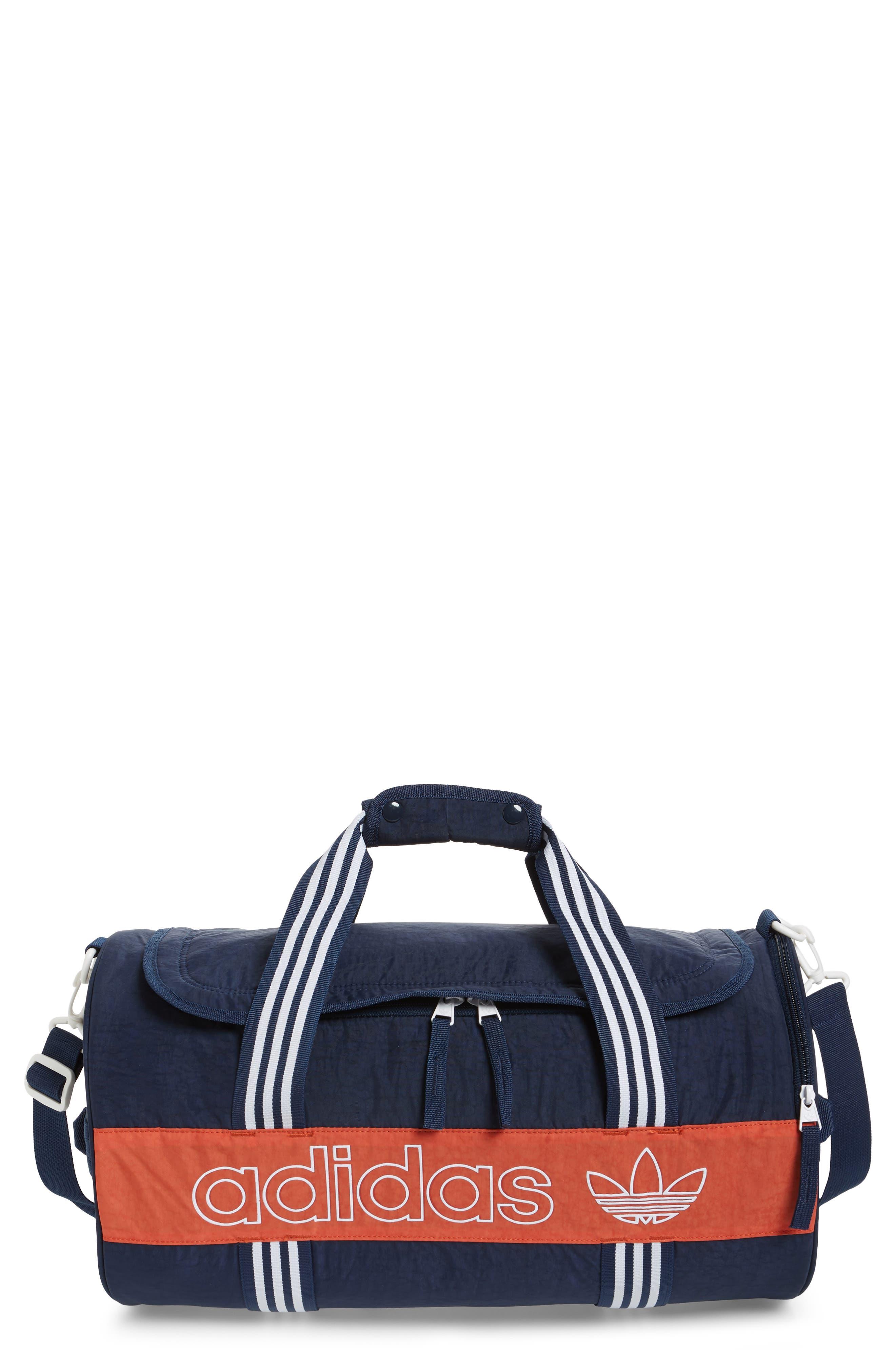 ADIDAS ORIGINALS, adidas Spirit Roll Duffle Bag, Main thumbnail 1, color, COLLEGIATE NAVY/ AMBER/ WHITE