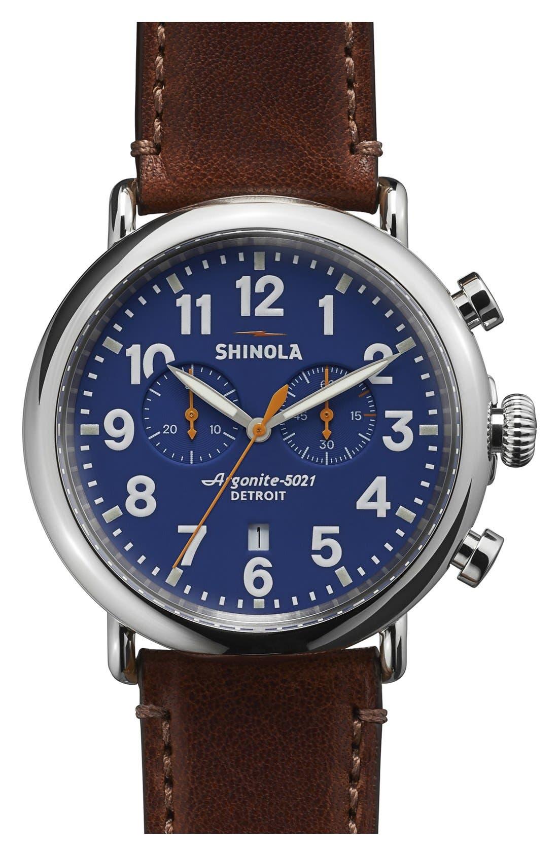 SHINOLA The Runwell Chrono Leather Strap Watch, 47mm, Main, color, DARK BROWN/ BLUE