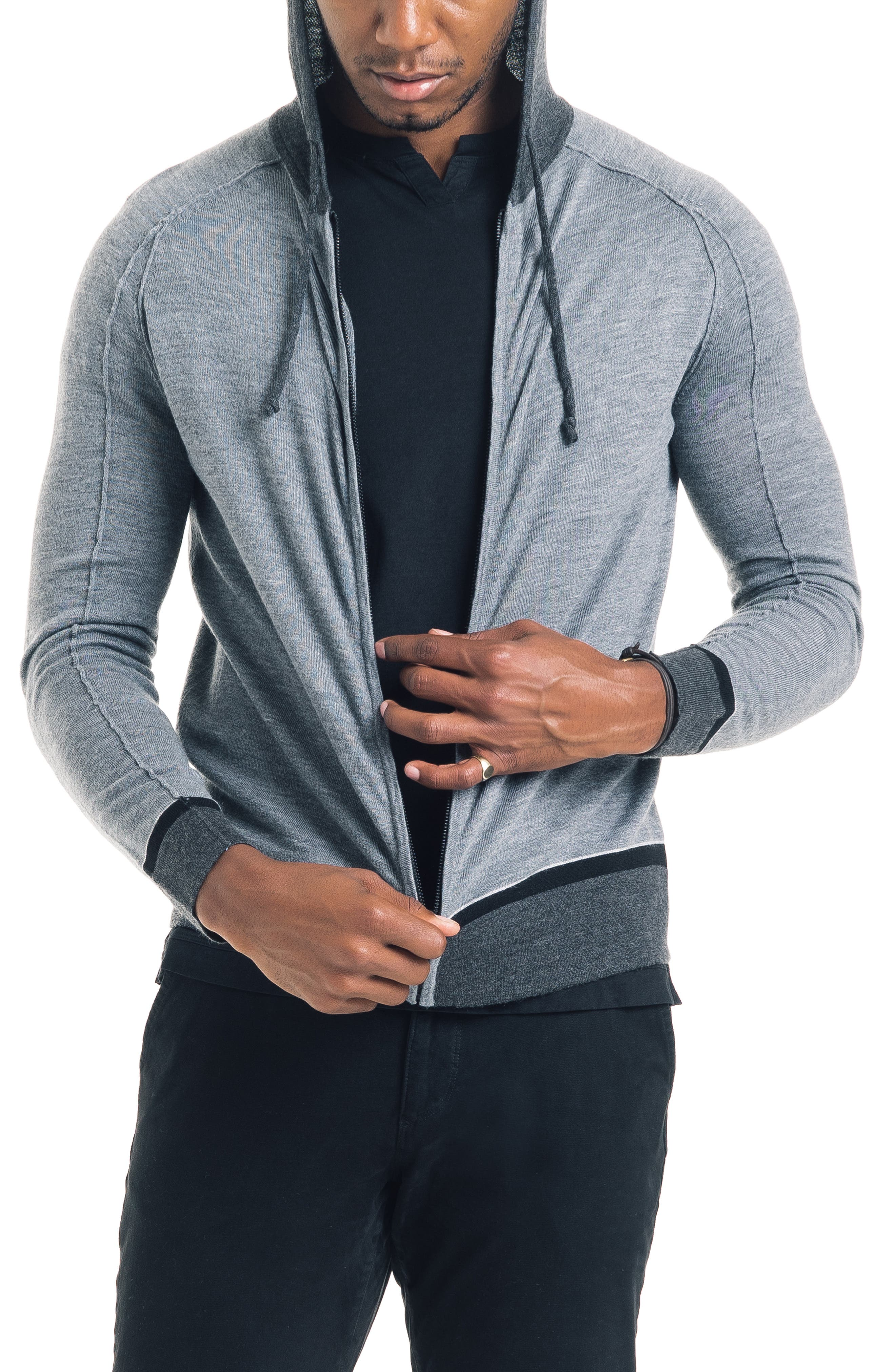 GOOD MAN BRAND, Modern Slim Fit Merino Wool Hoodie, Main thumbnail 1, color, 022