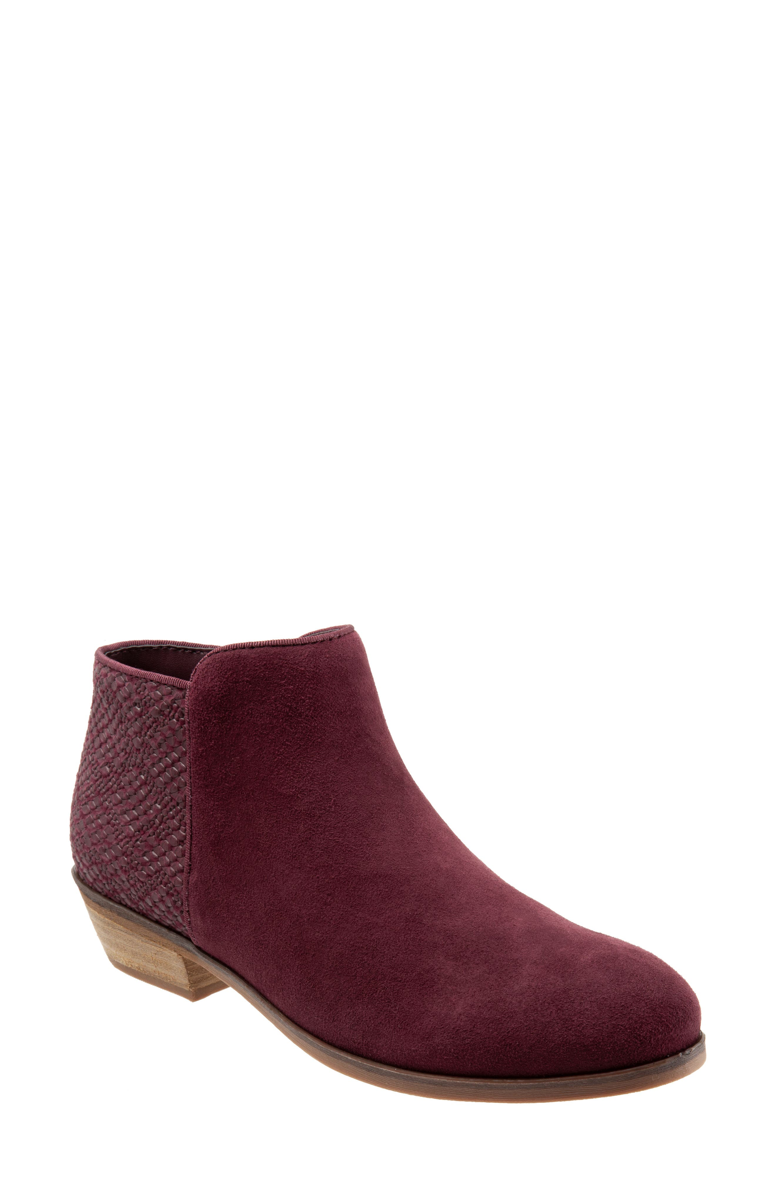 SOFTWALK<SUP>®</SUP>, 'Rocklin' Bootie, Main thumbnail 1, color, BURGUNDY LEATHER