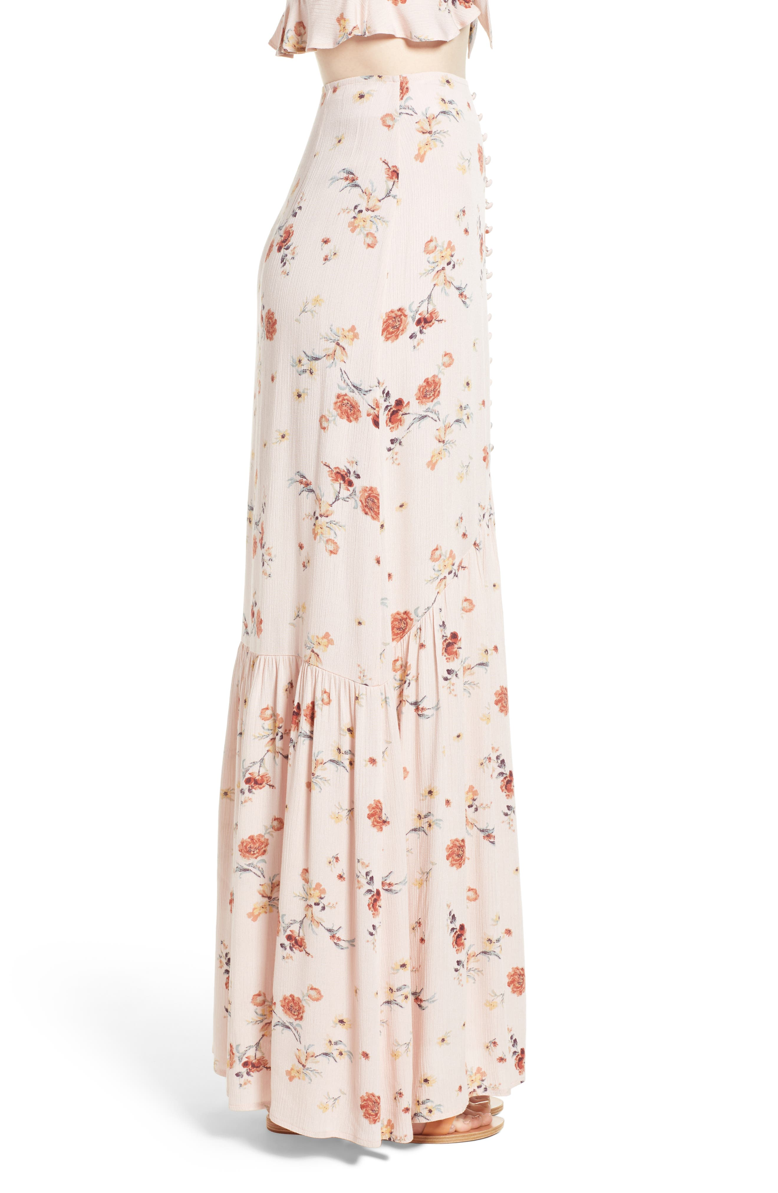 LOST + WANDER, Rosa Floral Maxi Skirt, Alternate thumbnail 3, color, 650