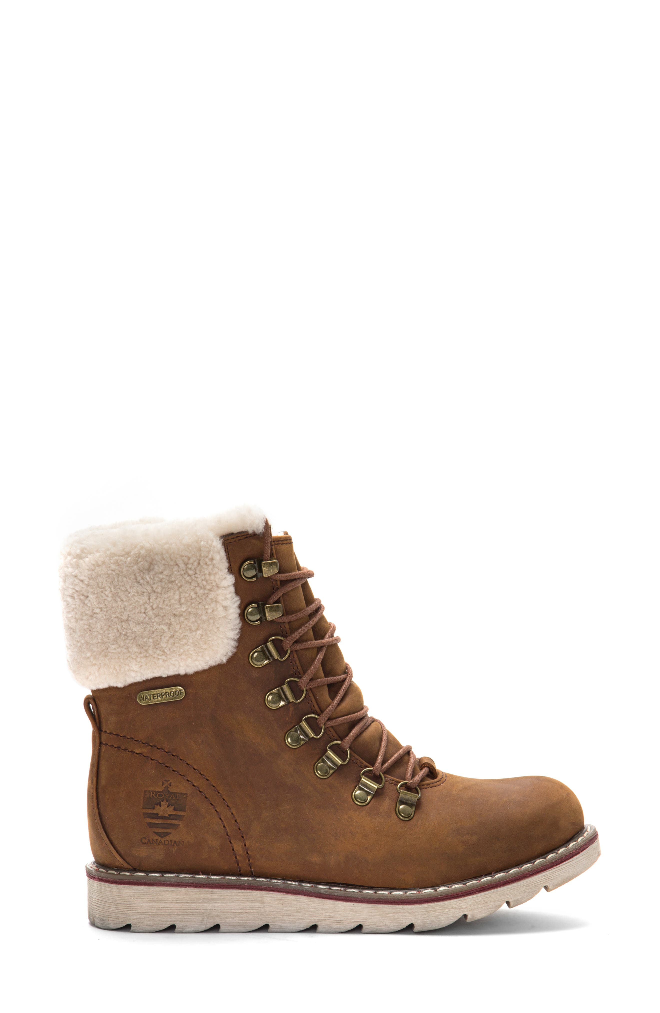 ROYAL CANADIAN, Lethbridge Waterproof Snow Boot with Genuine Shearling Cuff, Alternate thumbnail 2, color, COTTAGE BROWN LEATHER