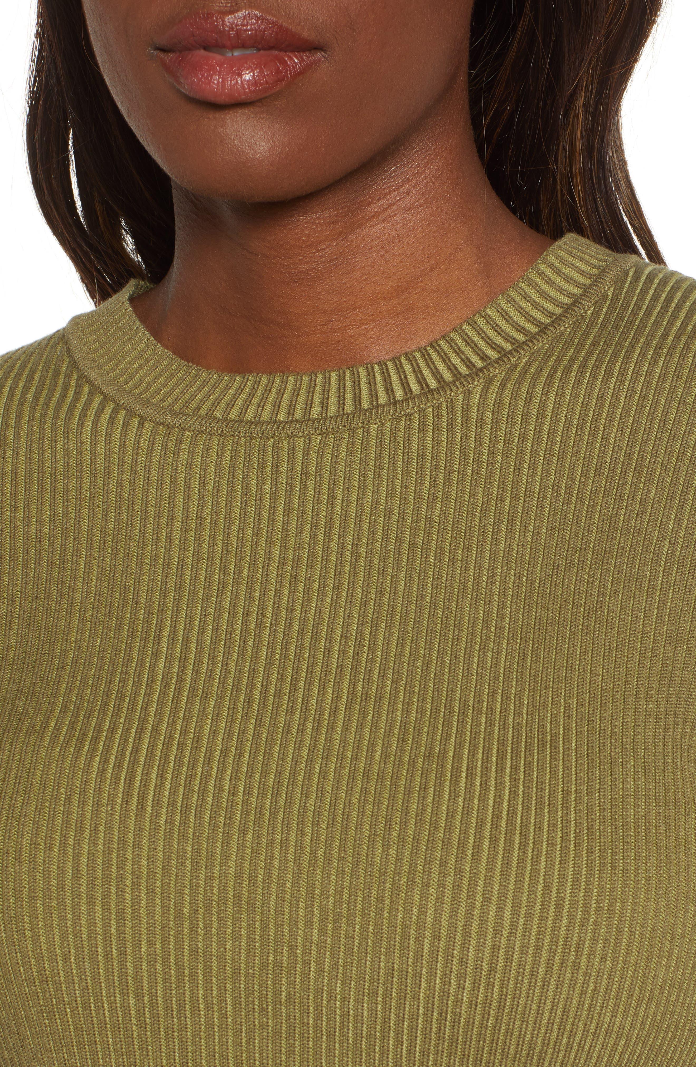 BP., Plaited Rib Sweater, Alternate thumbnail 5, color, OLIVE BURNT