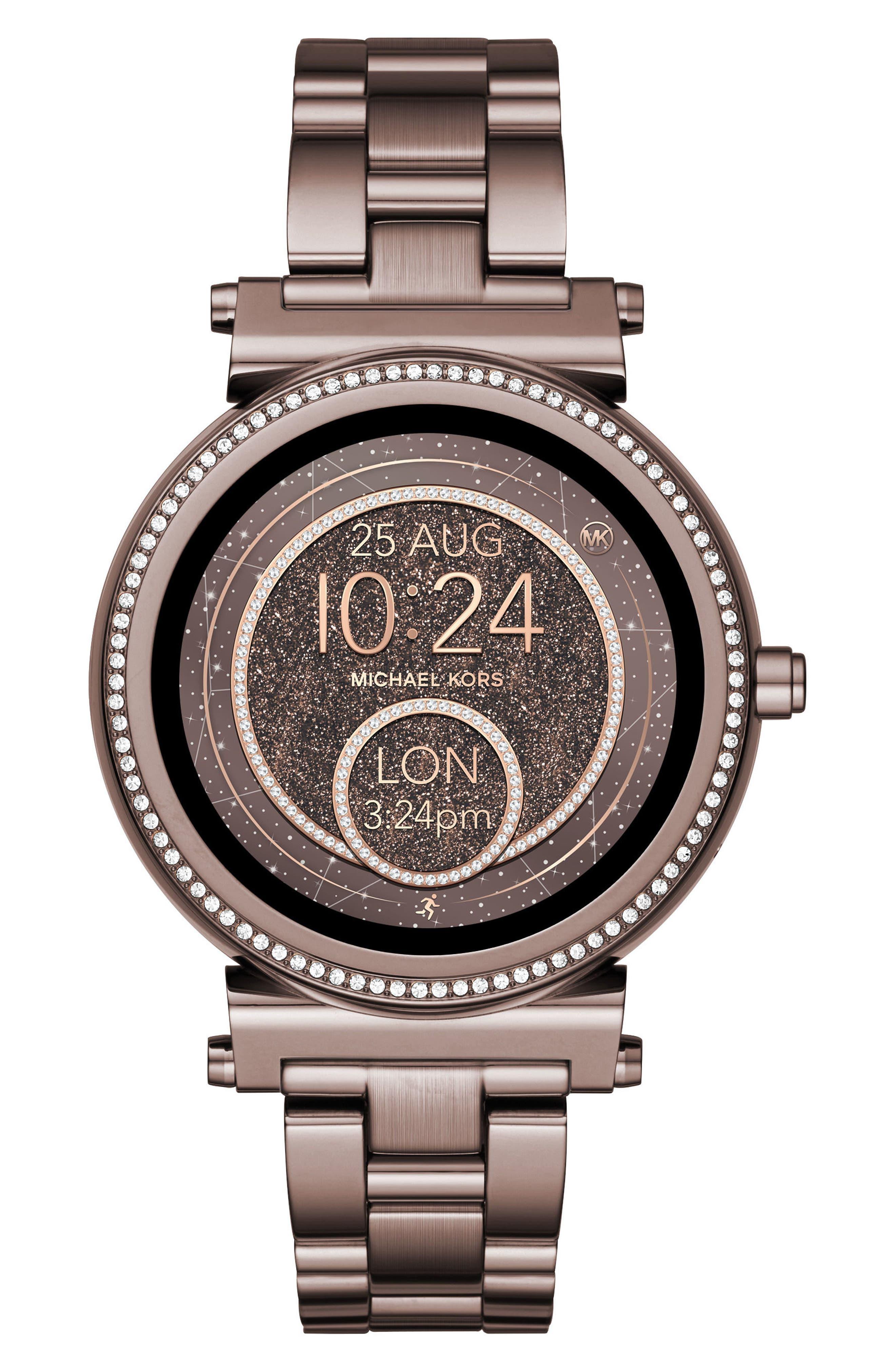 MICHAEL KORS ACCESS, Sofie Smart Bracelet Watch, 42mm, Main thumbnail 1, color, SABLE