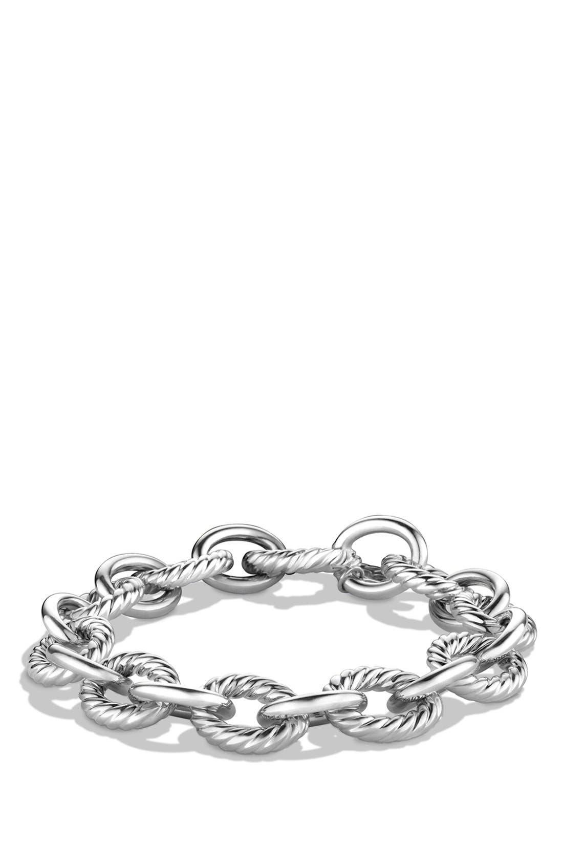 DAVID YURMAN 'Oval' Large Link Bracelet, Main, color, SILVER