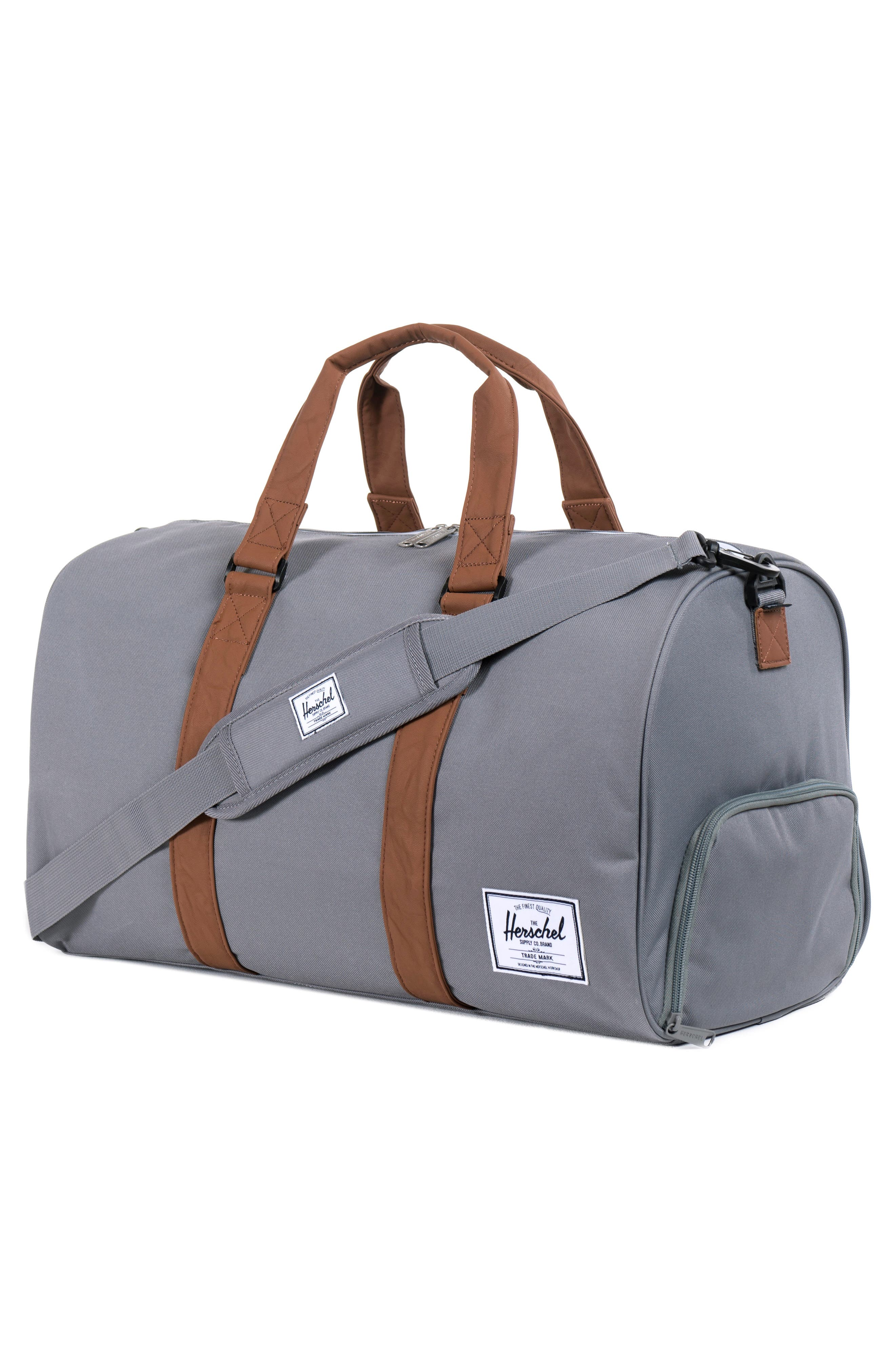 HERSCHEL SUPPLY CO., Novel Canvas Duffle Bag, Alternate thumbnail 8, color, GREY/ TAN