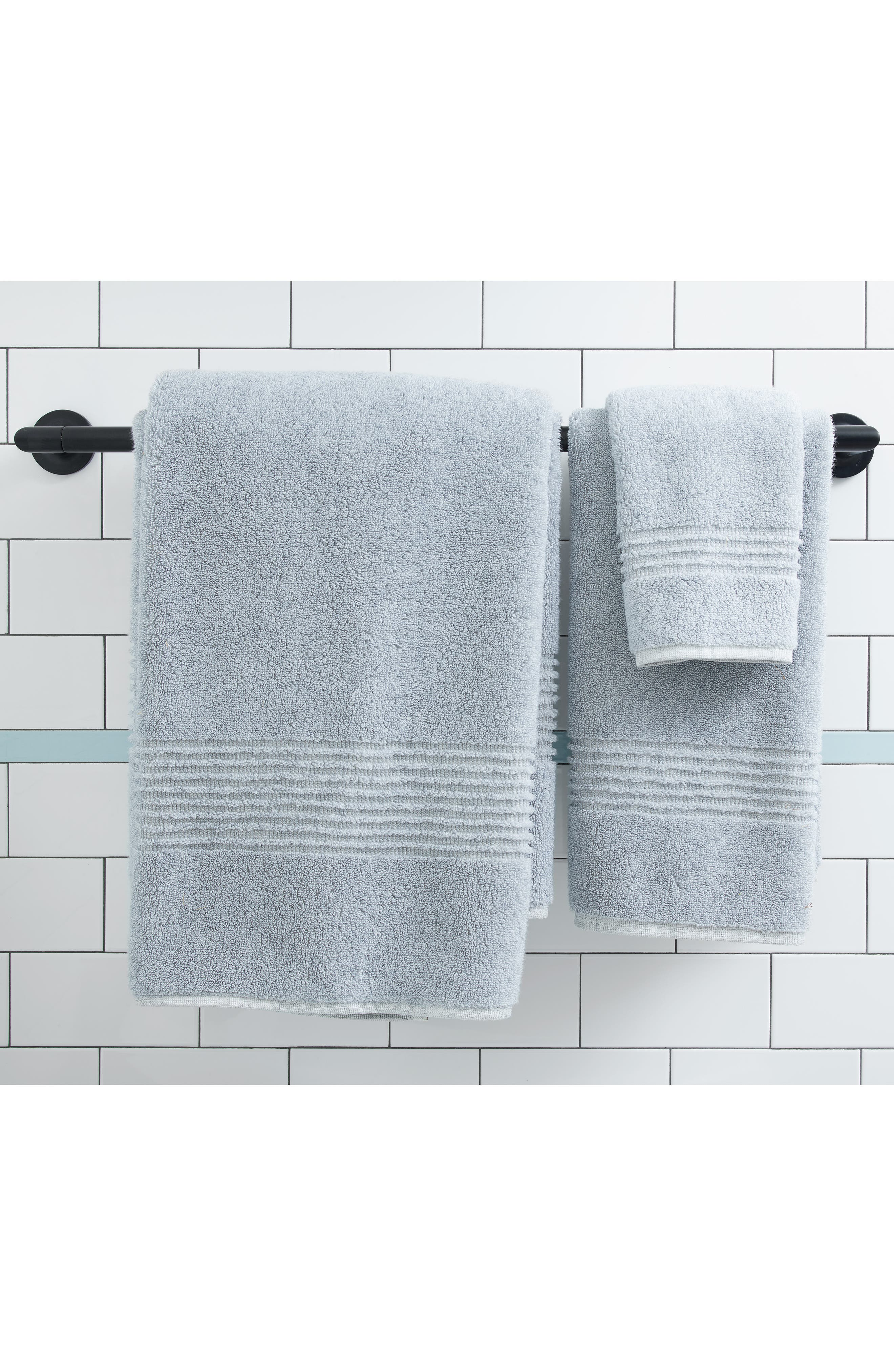 NORDSTROM AT HOME, Organic Hydrocotton Heathered Bath Towel, Alternate thumbnail 4, color, WHITE
