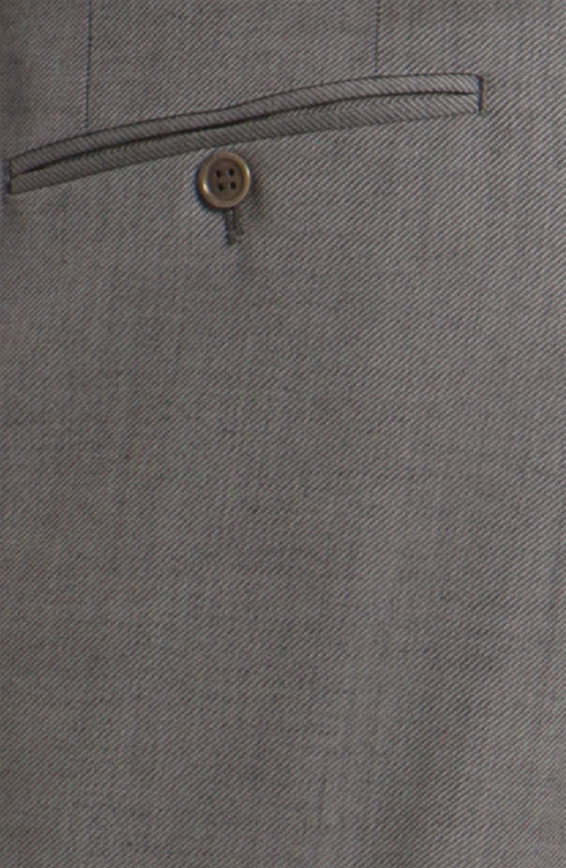 CANALI, Flat Front Wool Trousers, Alternate thumbnail 3, color, GREY