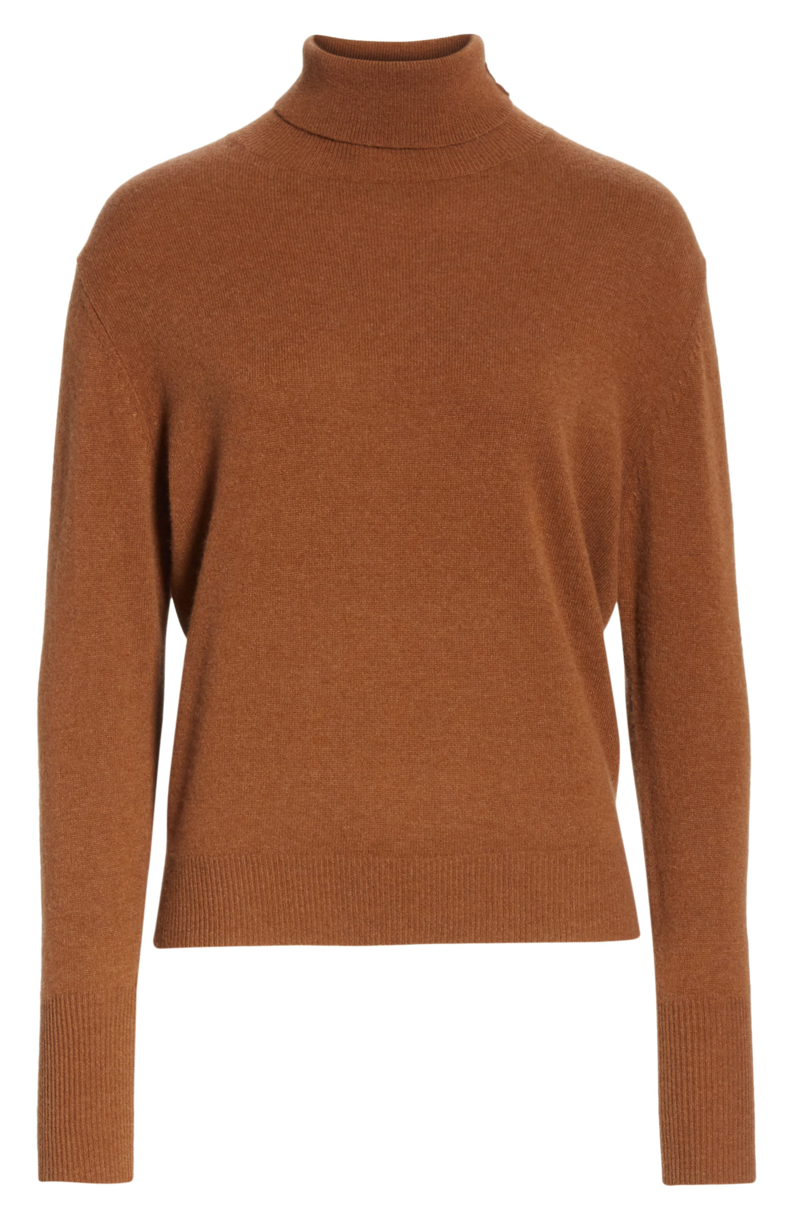 NILI LOTAN, Ralphie Cashmere Turtleneck Sweater, Alternate thumbnail 6, color, COGNAC