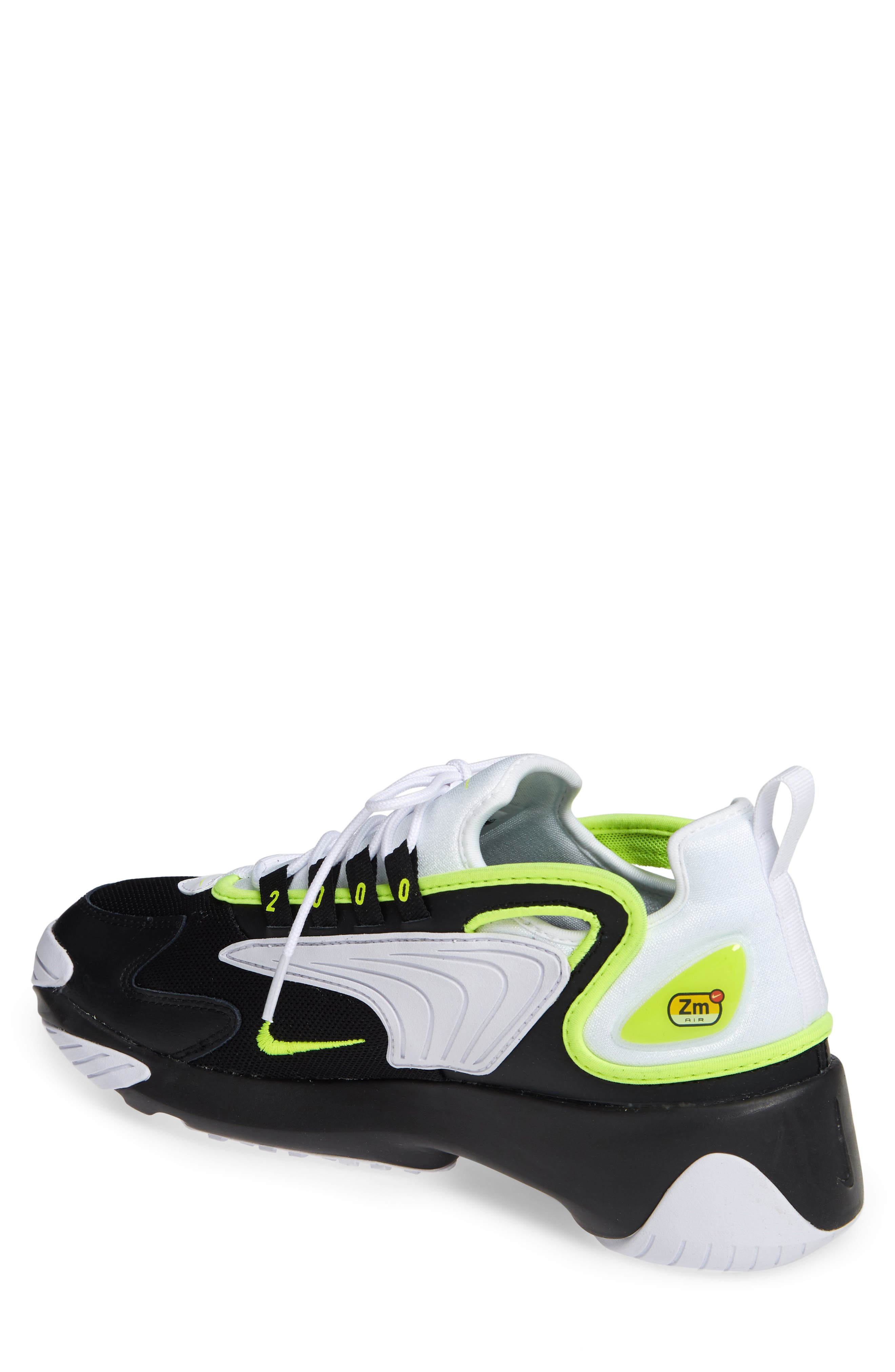 NIKE, Zoom 2K Sneaker, Alternate thumbnail 2, color, BLACK/ VOLT/ WHITE