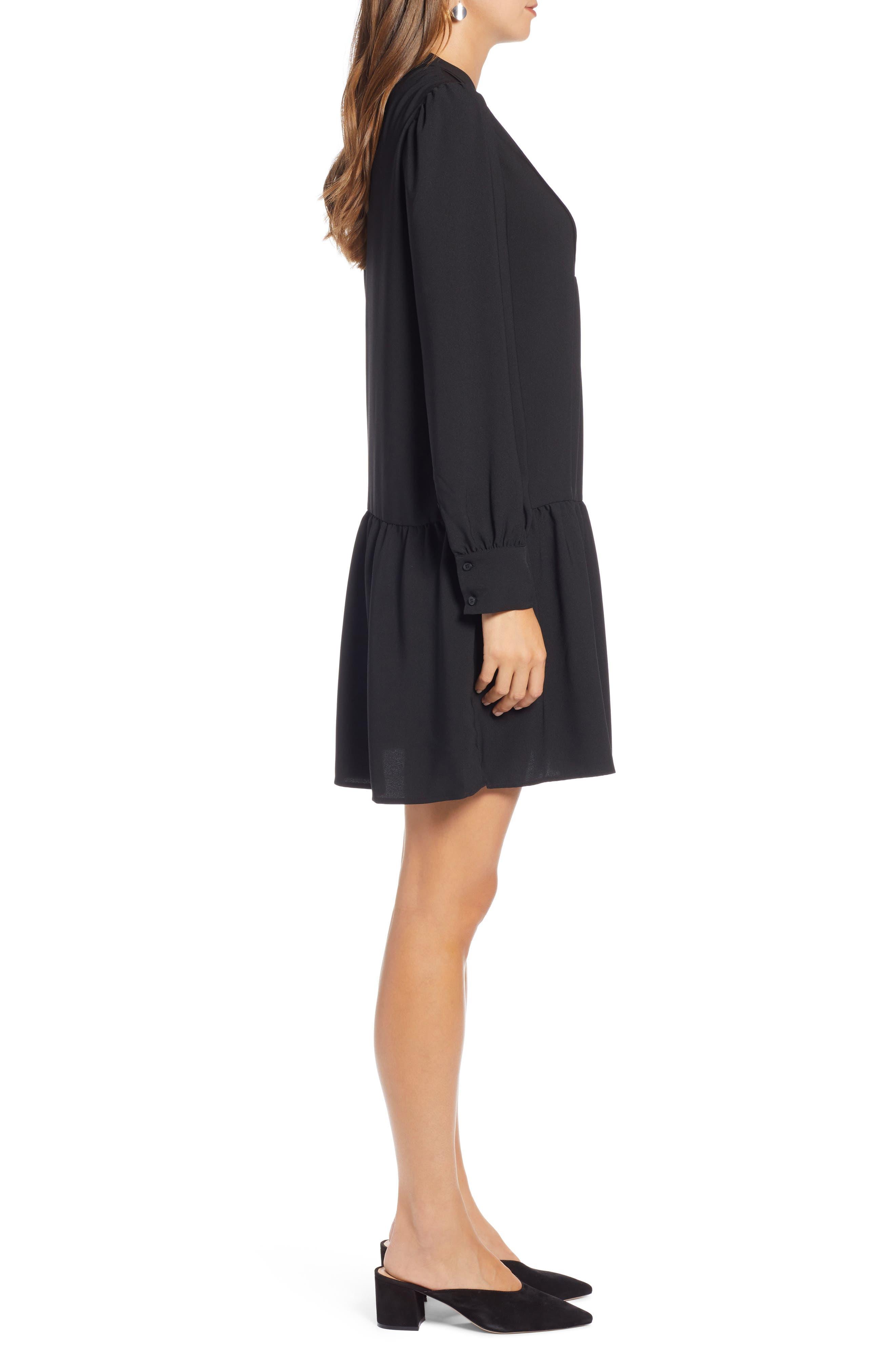 HALOGEN<SUP>®</SUP>, Pintuck Detail Shift Dress, Alternate thumbnail 4, color, BLACK