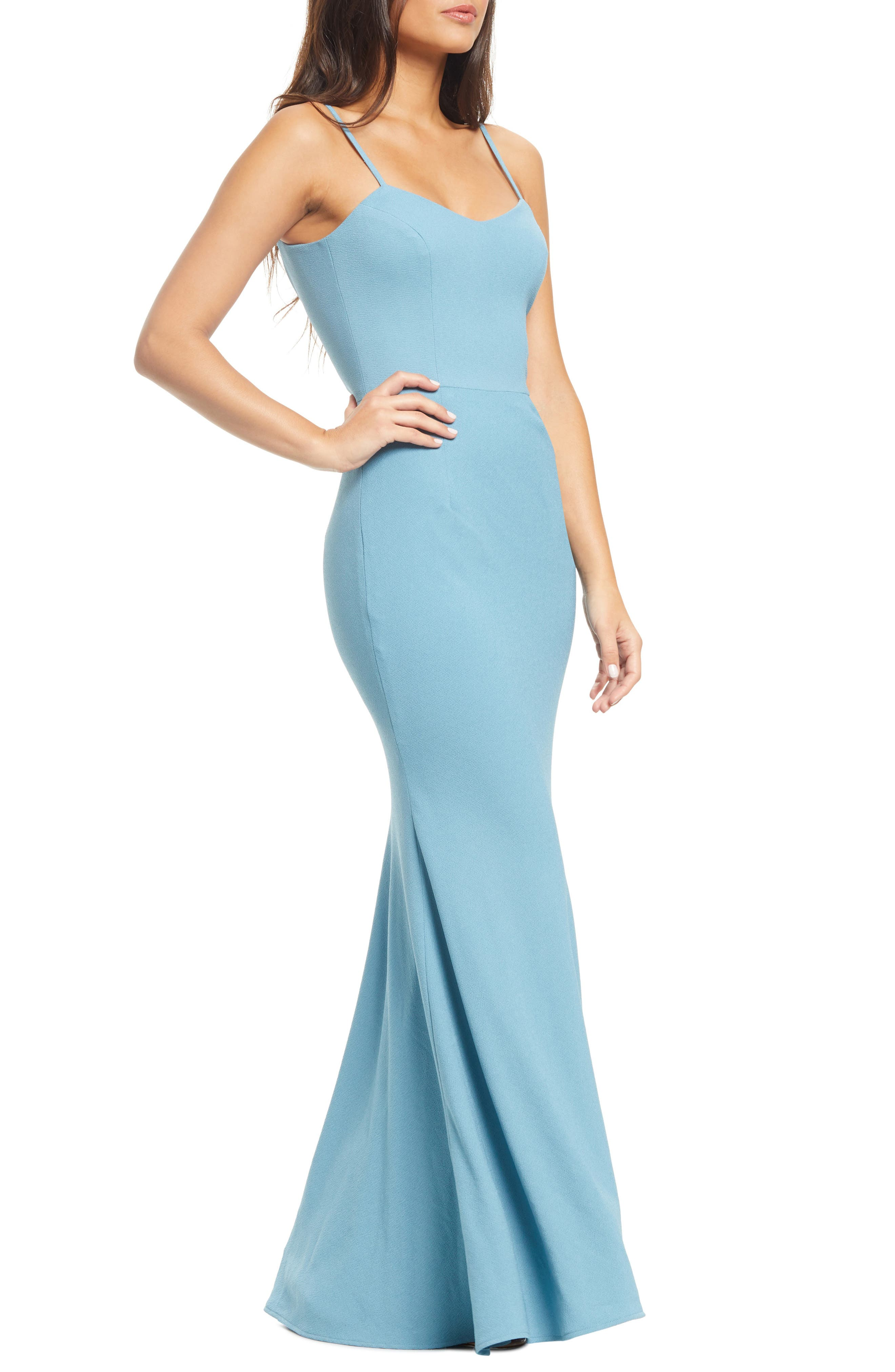 DRESS THE POPULATION, Jodi Crepe Evening Dress, Main thumbnail 1, color, SEA BREEZE