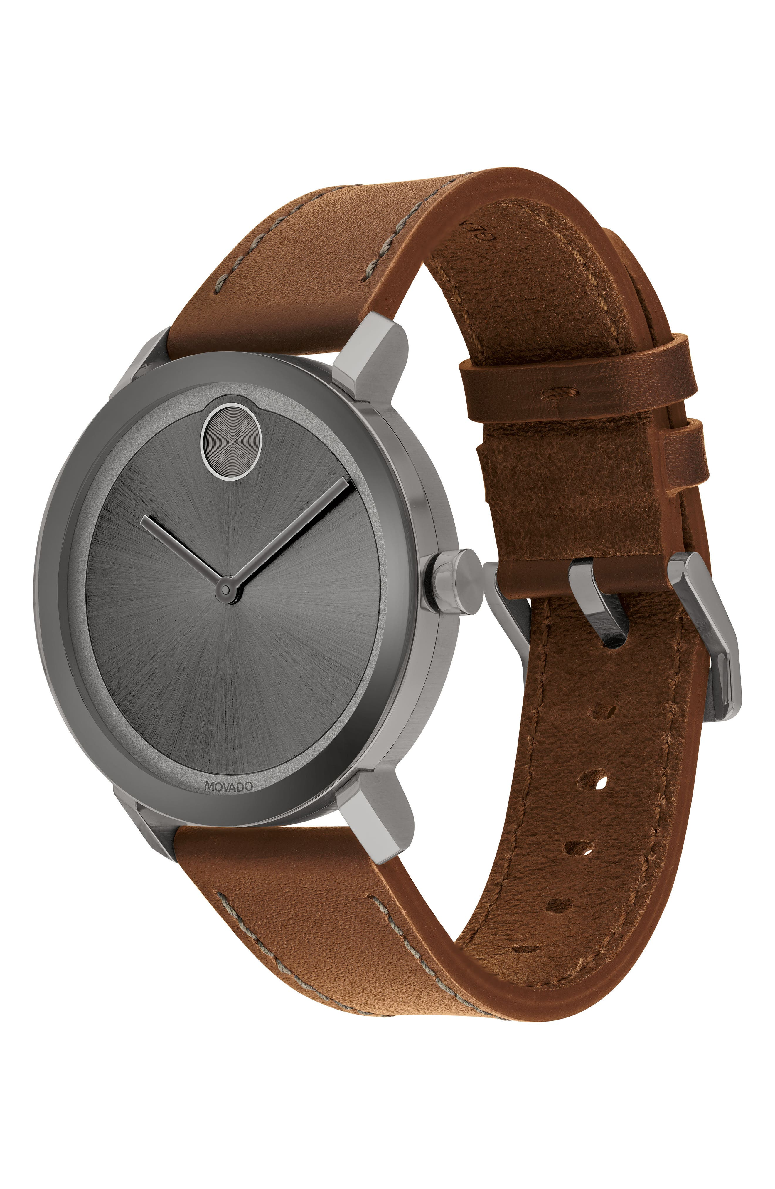 MOVADO, Bold Leather Strap Watch, 40mm, Alternate thumbnail 3, color, COGNAC/ GREY