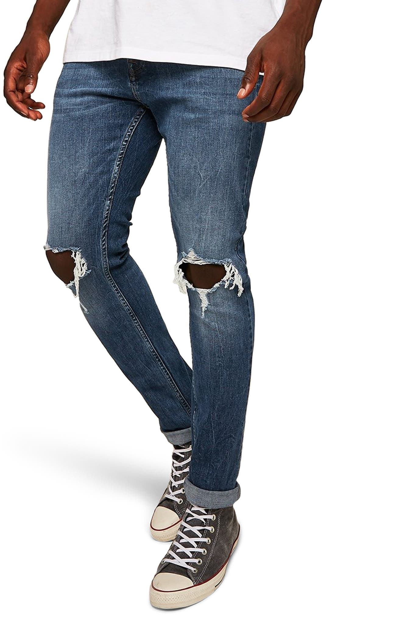TOPMAN, Polly Ripped Stretch Skinny Jeans, Main thumbnail 1, color, BLUE