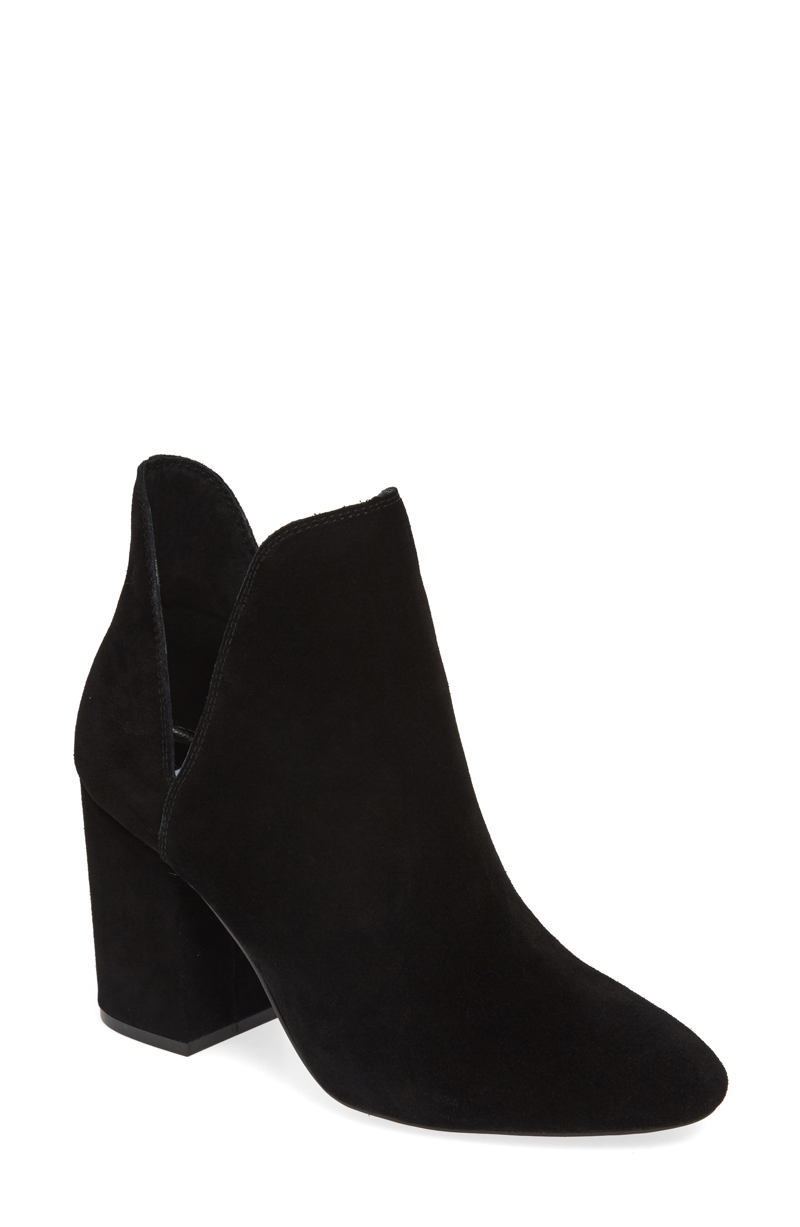 STEVE MADDEN, Rookie Bootie, Main thumbnail 1, color, BLACK SUEDE