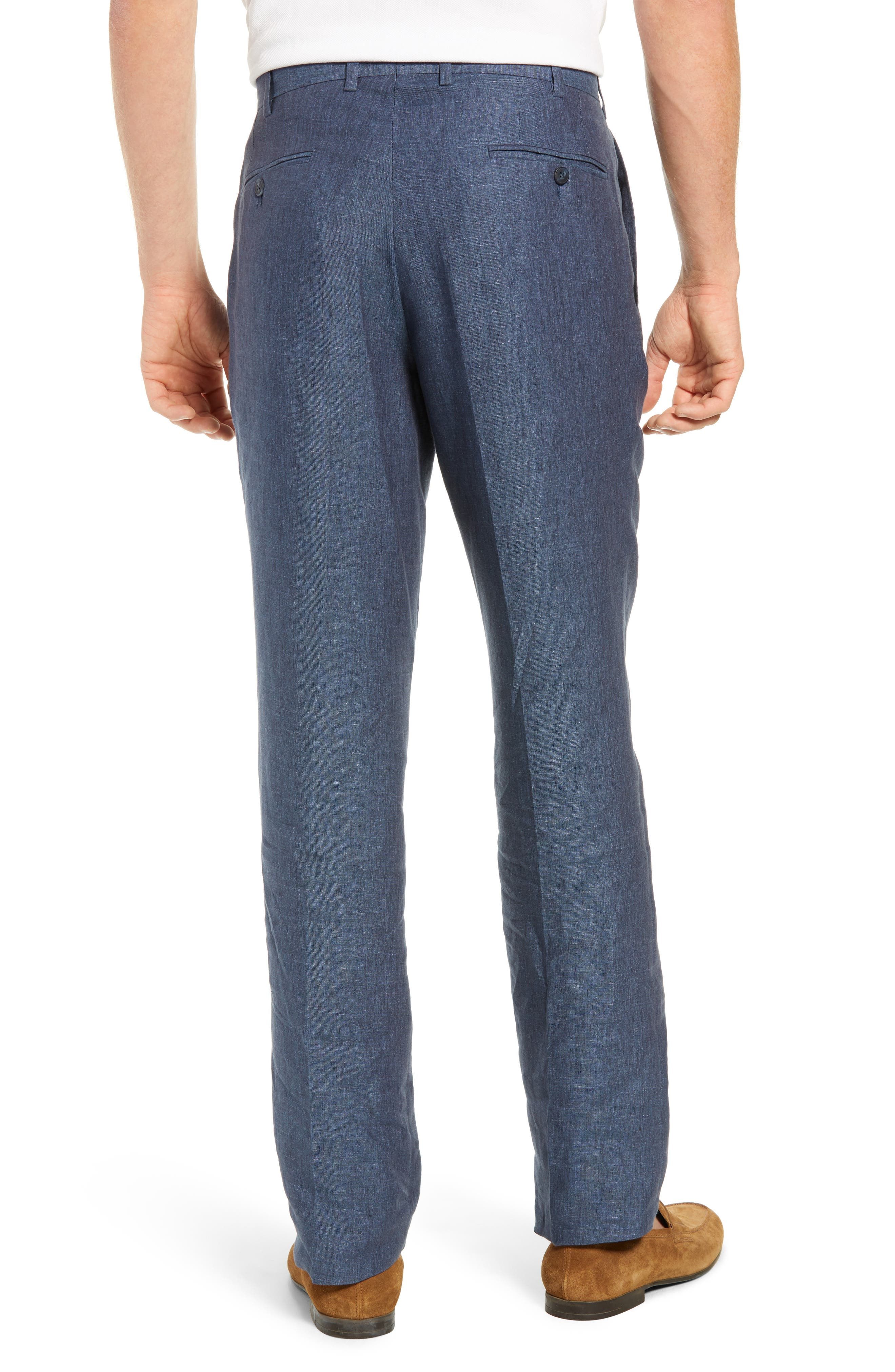 JOHN W. NORDSTROM<SUP>®</SUP>, Torino Flat Front Solid Linen Trousers, Alternate thumbnail 2, color, 420