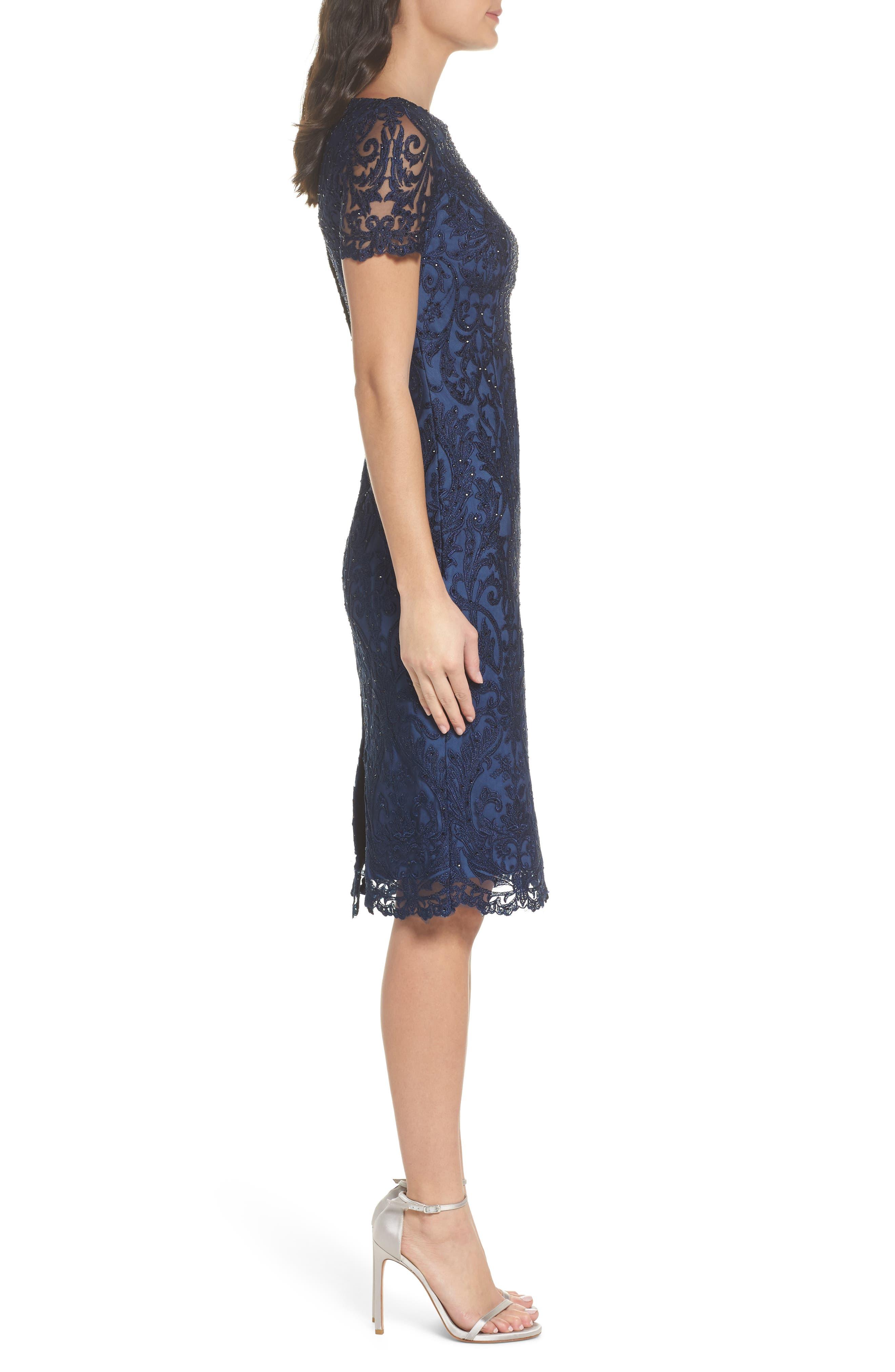LA FEMME, Beaded Lace Sheath Dress, Alternate thumbnail 3, color, SLATE BLUE