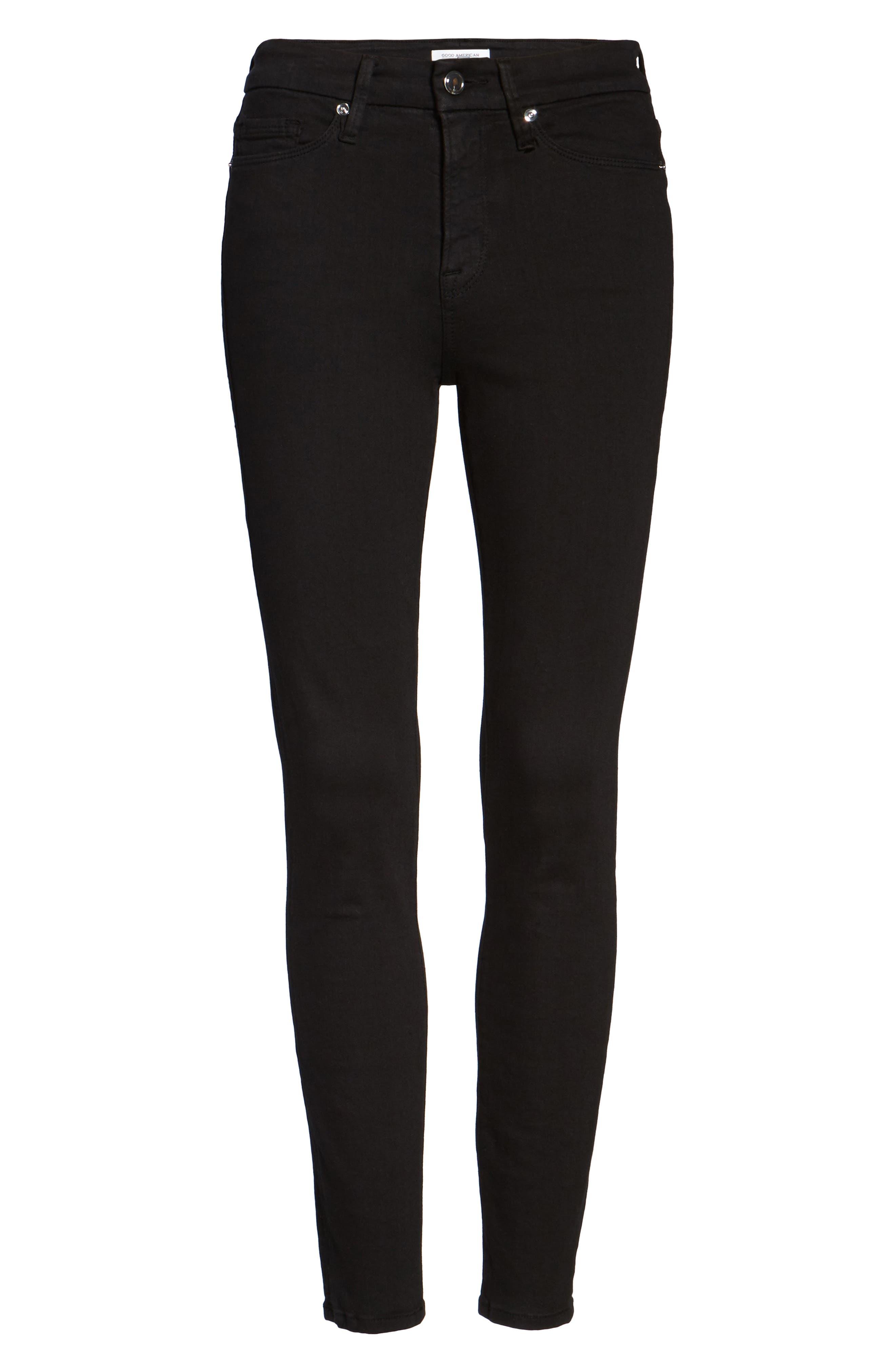 GOOD AMERICAN, Good Legs High Rise Crop Skinny Jeans, Alternate thumbnail 7, color, BLACK 001