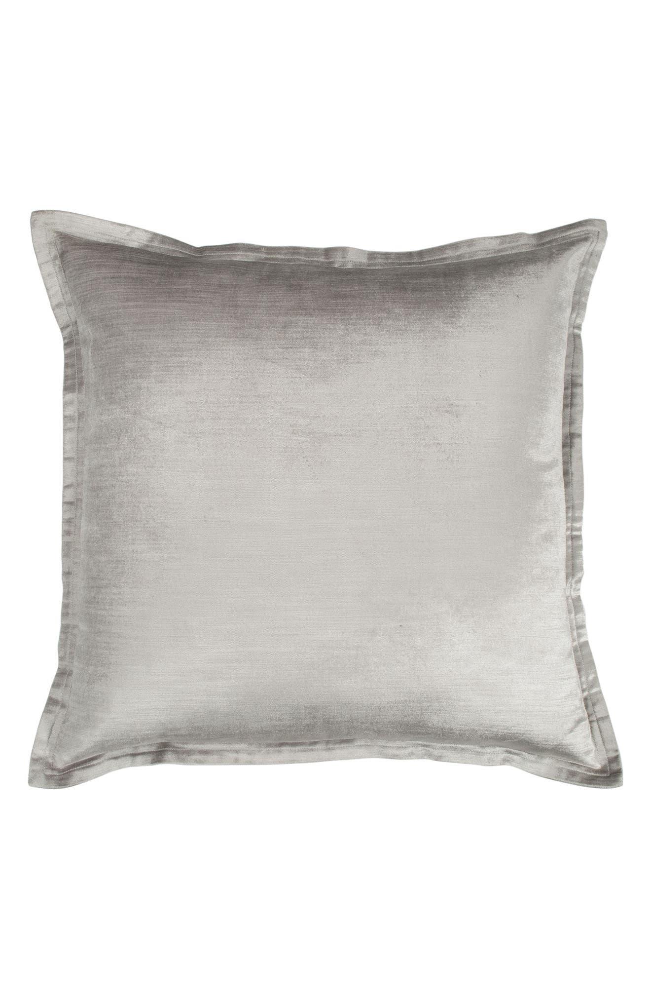 DONNA KARAN NEW YORK Collection Velvet Accent Pillow, Main, color, SILVER